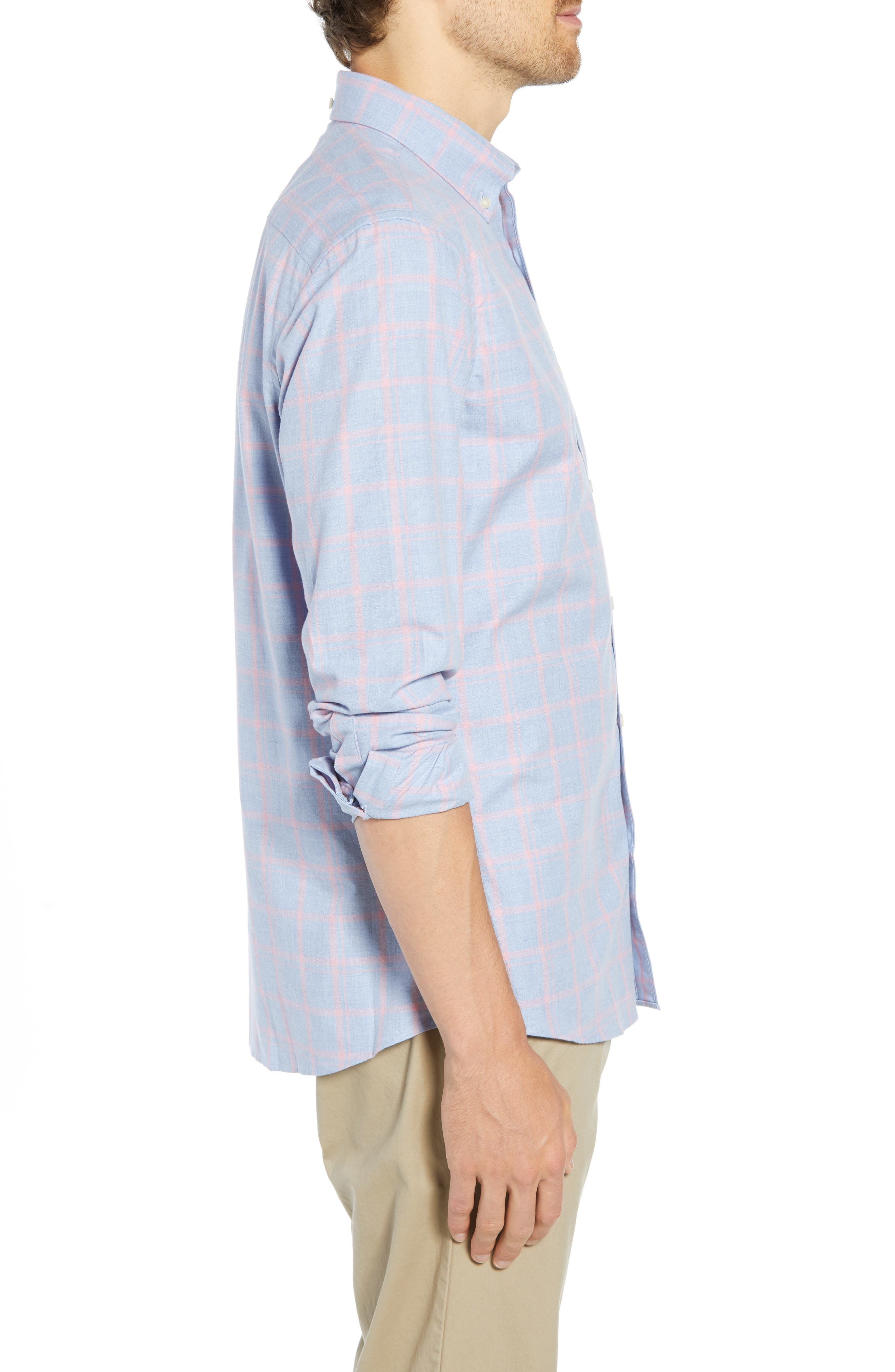 Slim Fit Chambray Sport Shirt,                             Alternate thumbnail 4, color,                             450