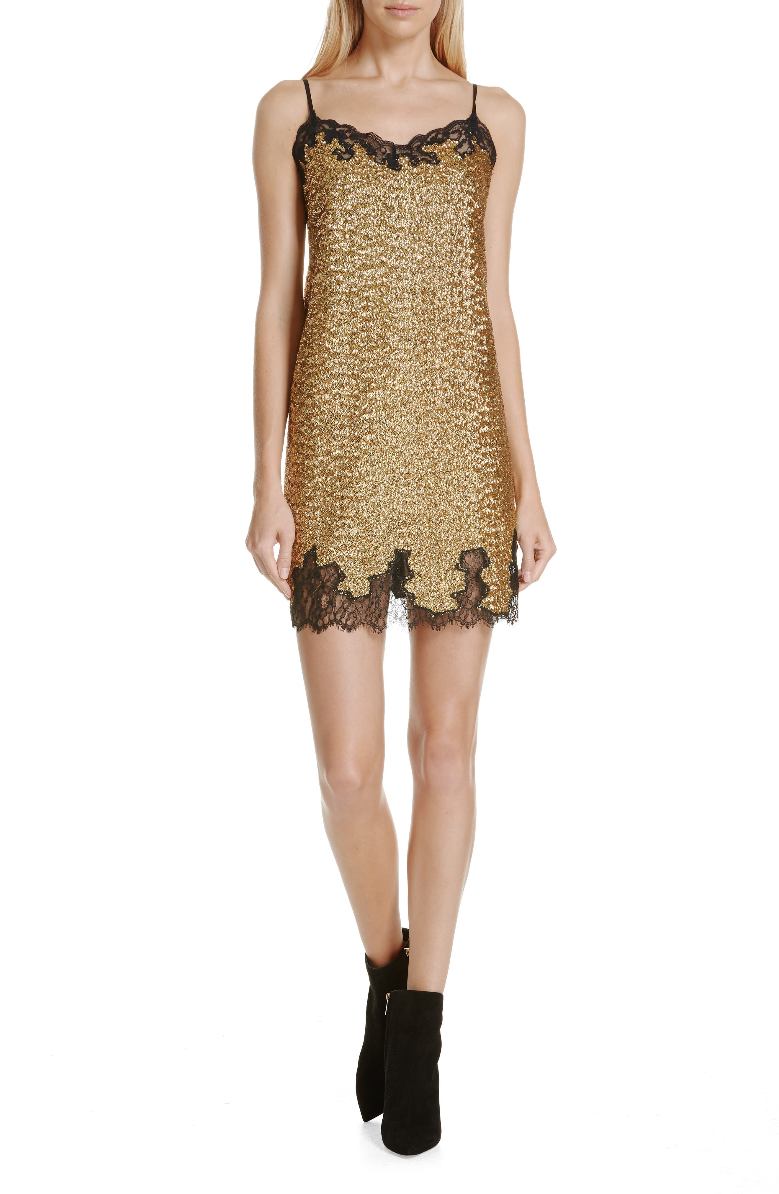 Sequin Lace Camisole Dress,                         Main,                         color, YELLOW