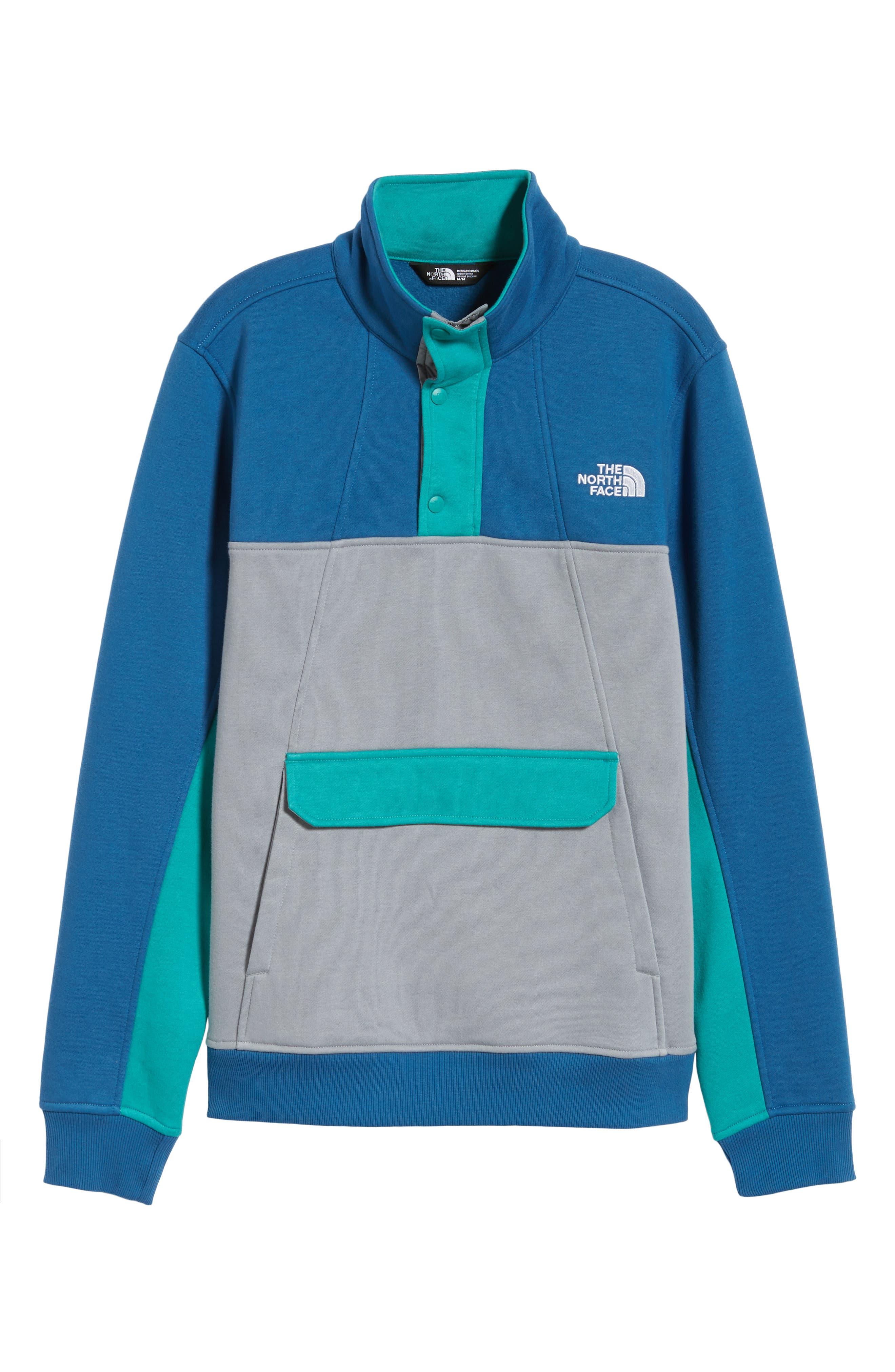 Alphabet City Fleece Pullover,                             Alternate thumbnail 6, color,                             DISH BLUE/ MID GREY/ GREEN