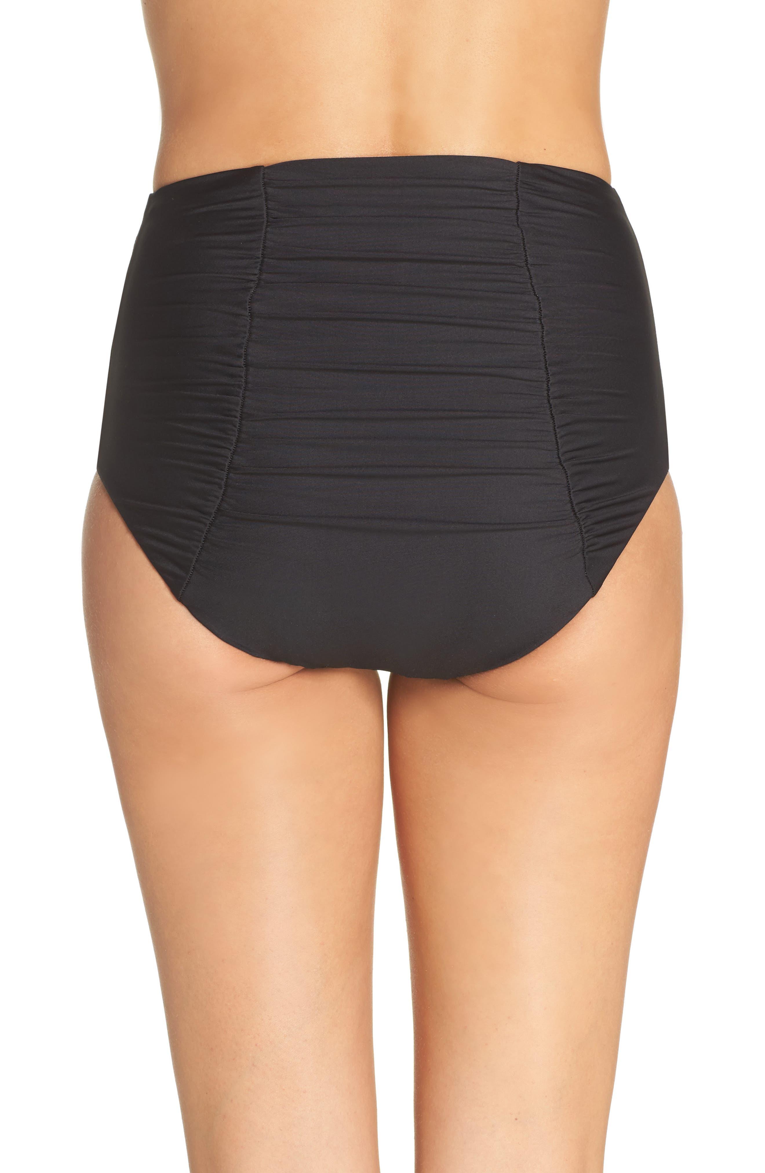 Color Code High Waist Bikini Bottoms,                             Alternate thumbnail 2, color,                             BLACK