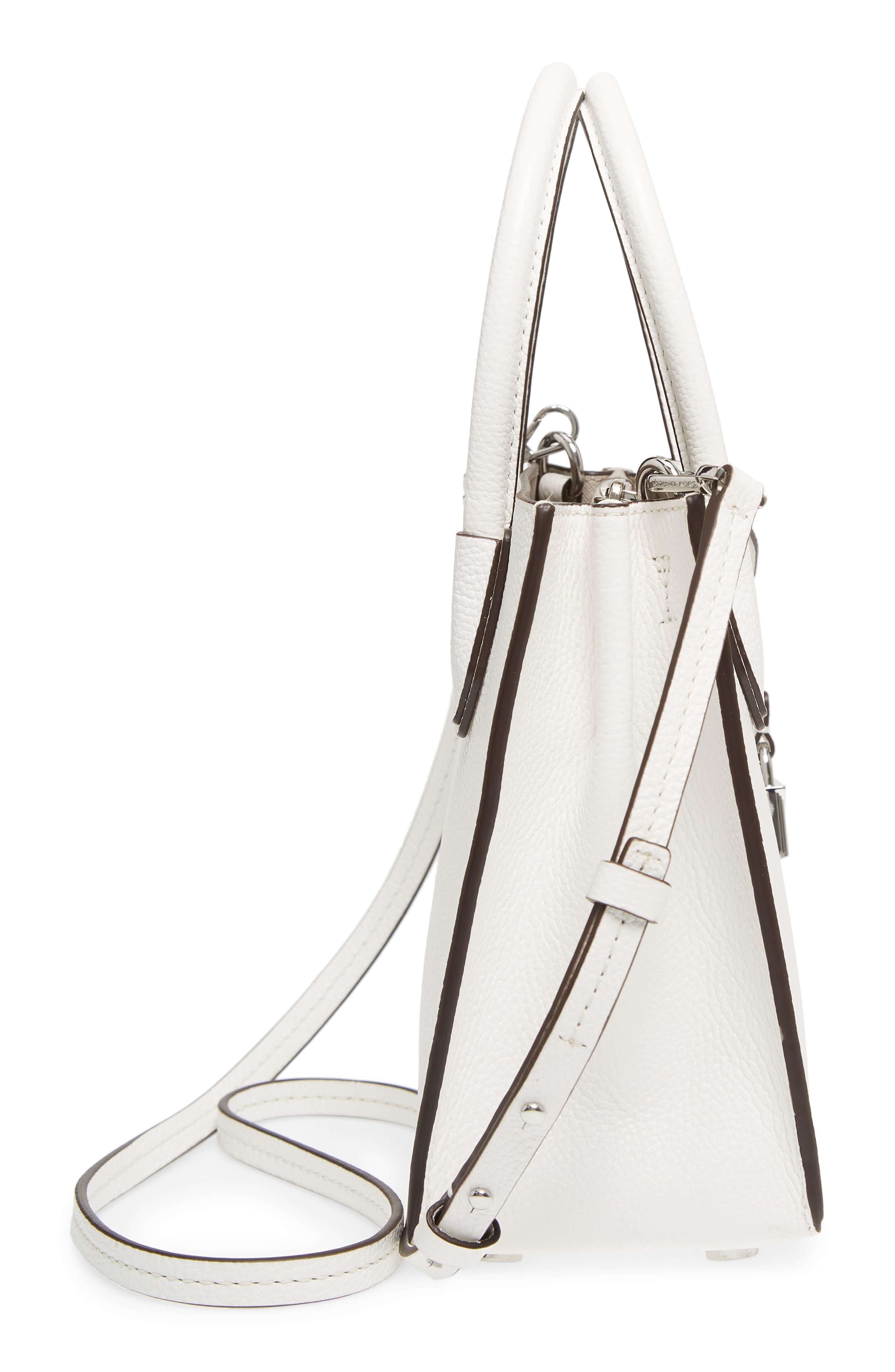 Mercer Leather Crossbody Bag,                             Alternate thumbnail 5, color,                             WHITE
