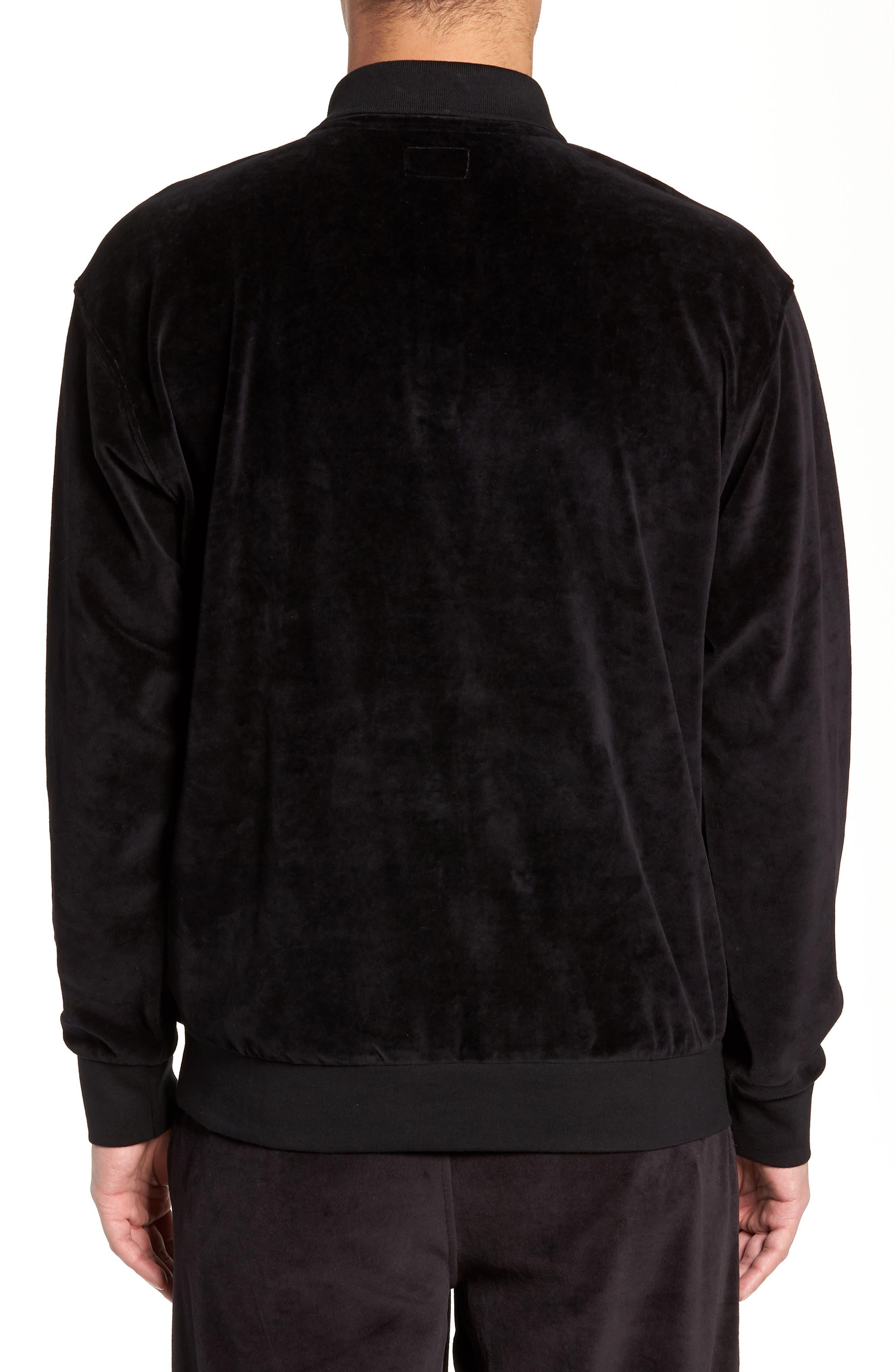 Saucer Long Sleeve Velour Polo,                             Alternate thumbnail 2, color,                             BLACK