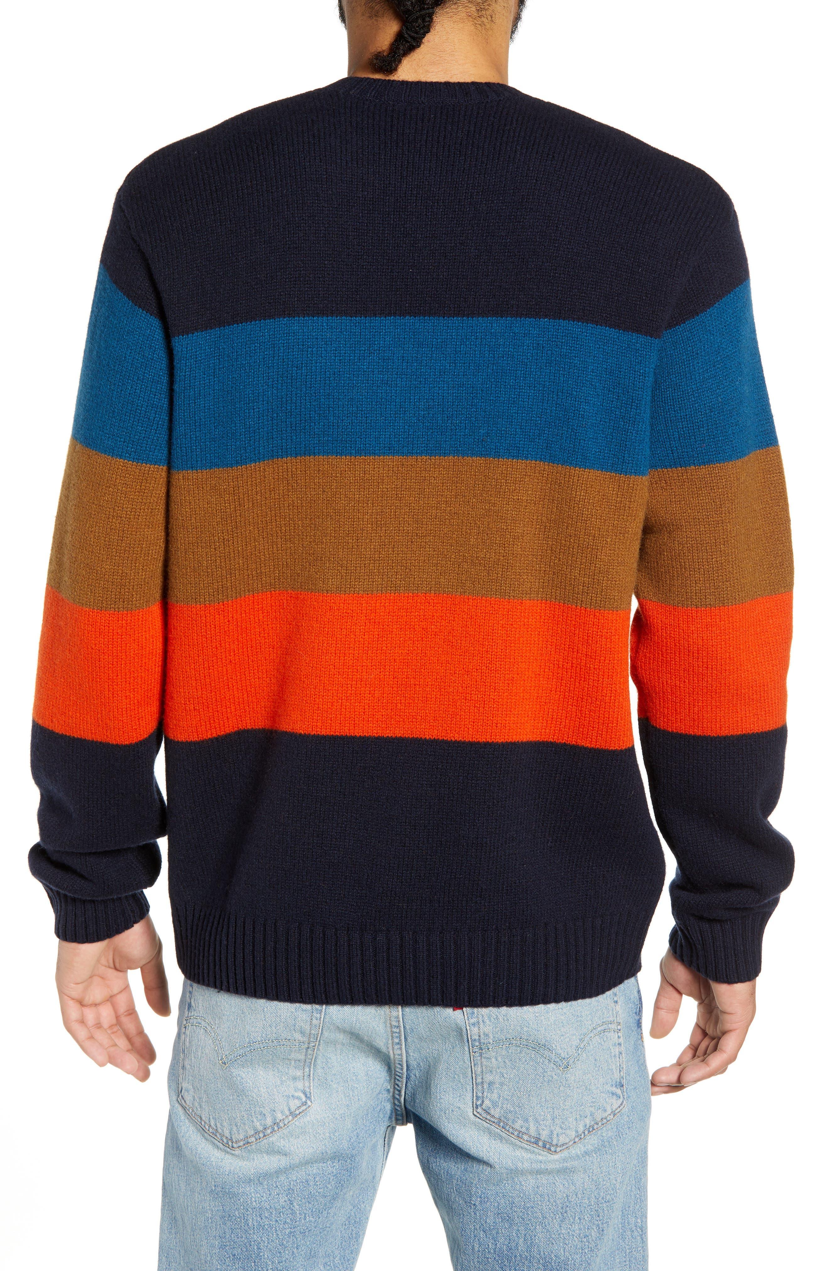 Goldner Stripe Wool Sweater,                             Alternate thumbnail 2, color,                             GOLD STRIPE DARK NAVY