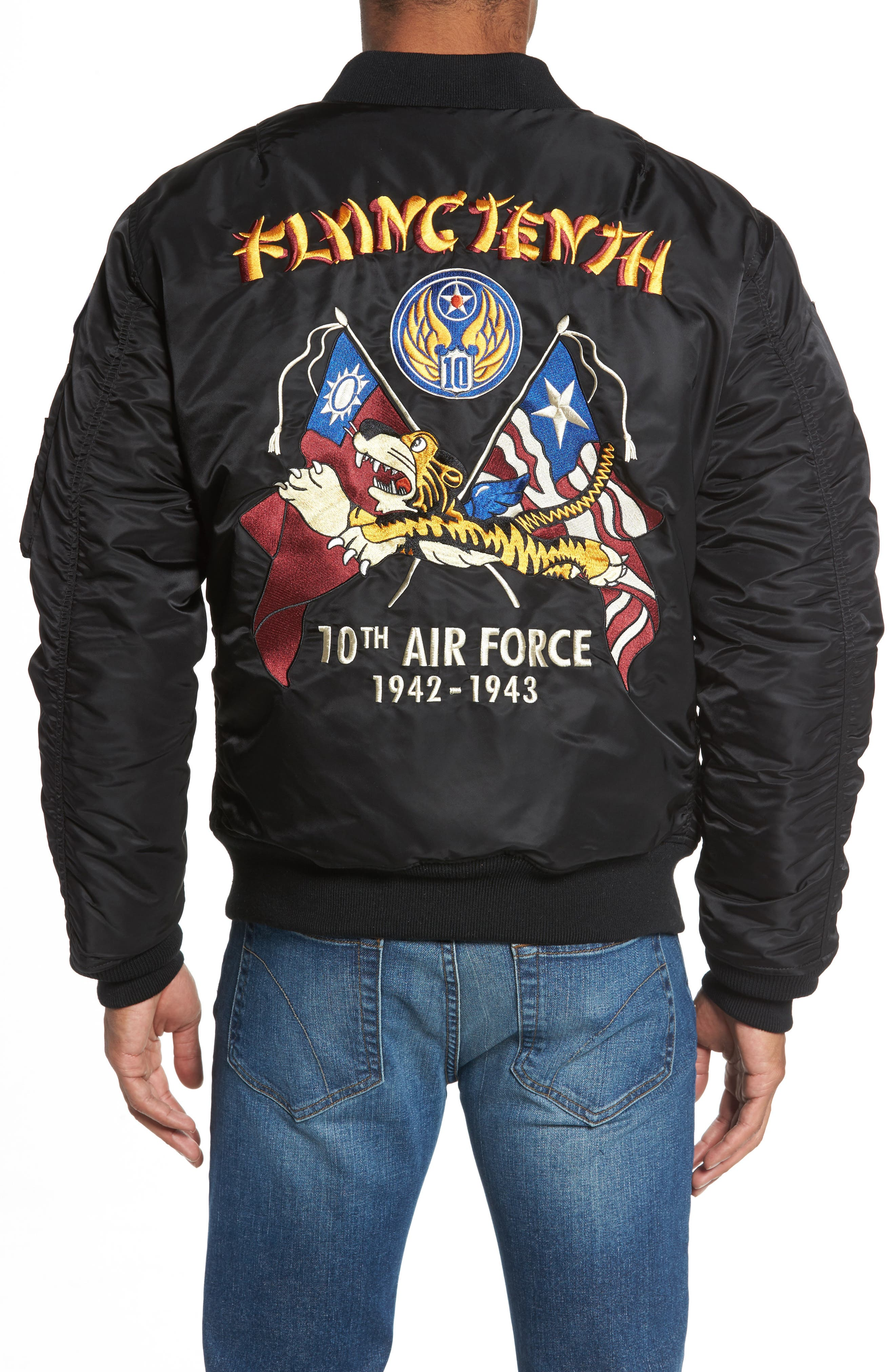 Highly Decorated Embroidered Flight Jacket,                             Alternate thumbnail 3, color,