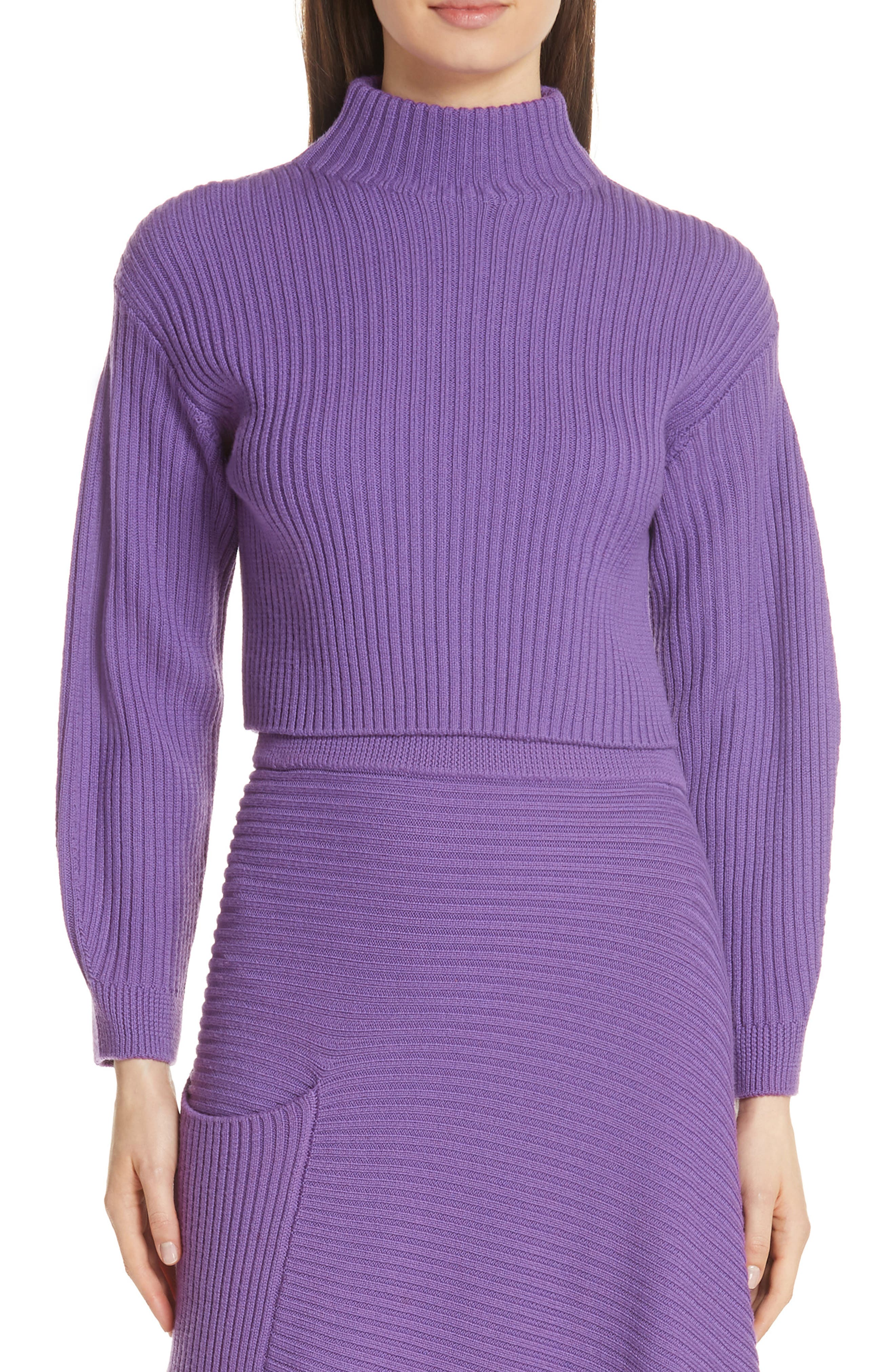 Tibi Structured Merino Wool Crop Sweater, Purple