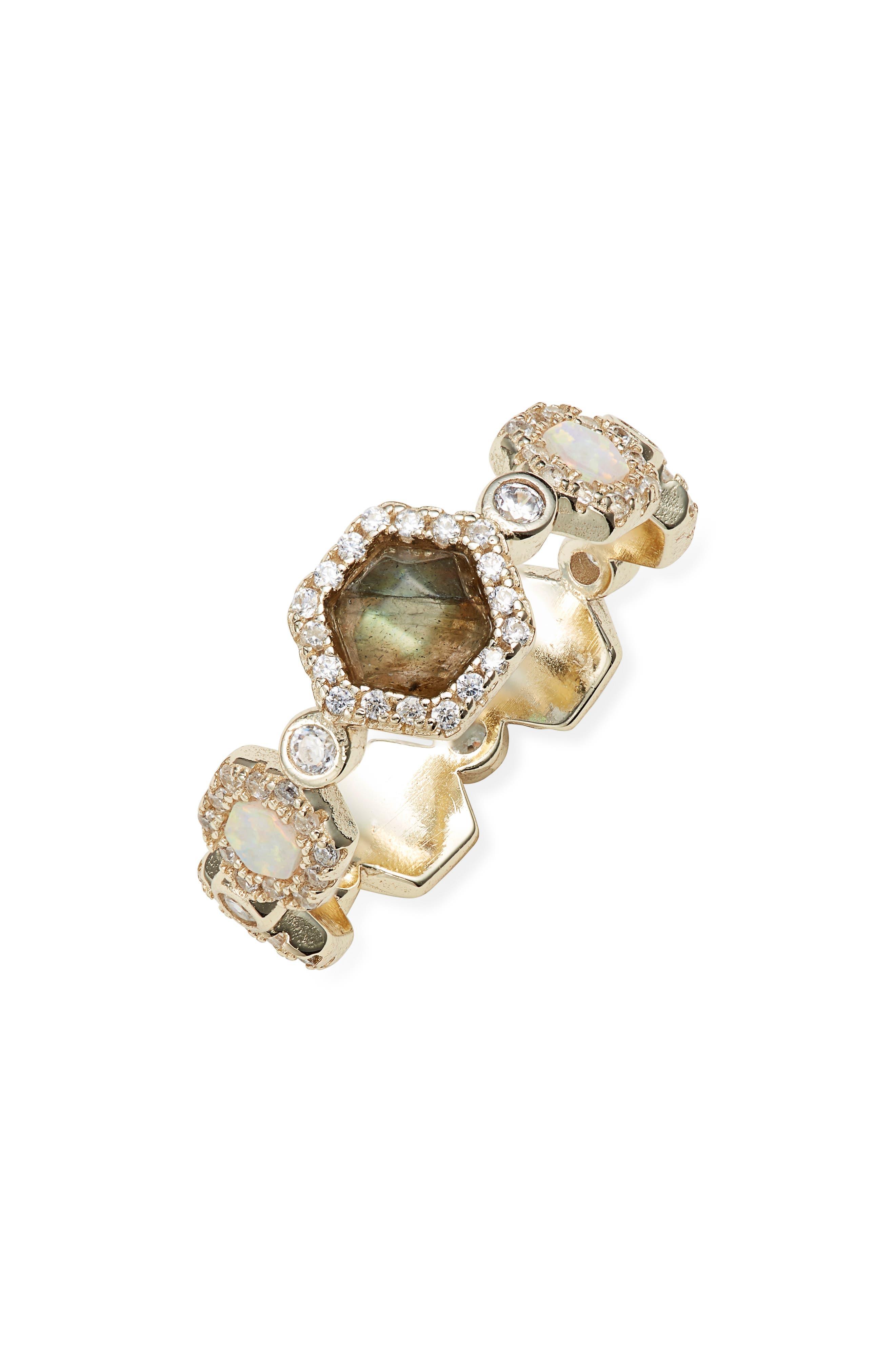 MELINDA MARIA Melinda White Opal & Labradorite Ring in Labradorite/ White Opal/ Gold