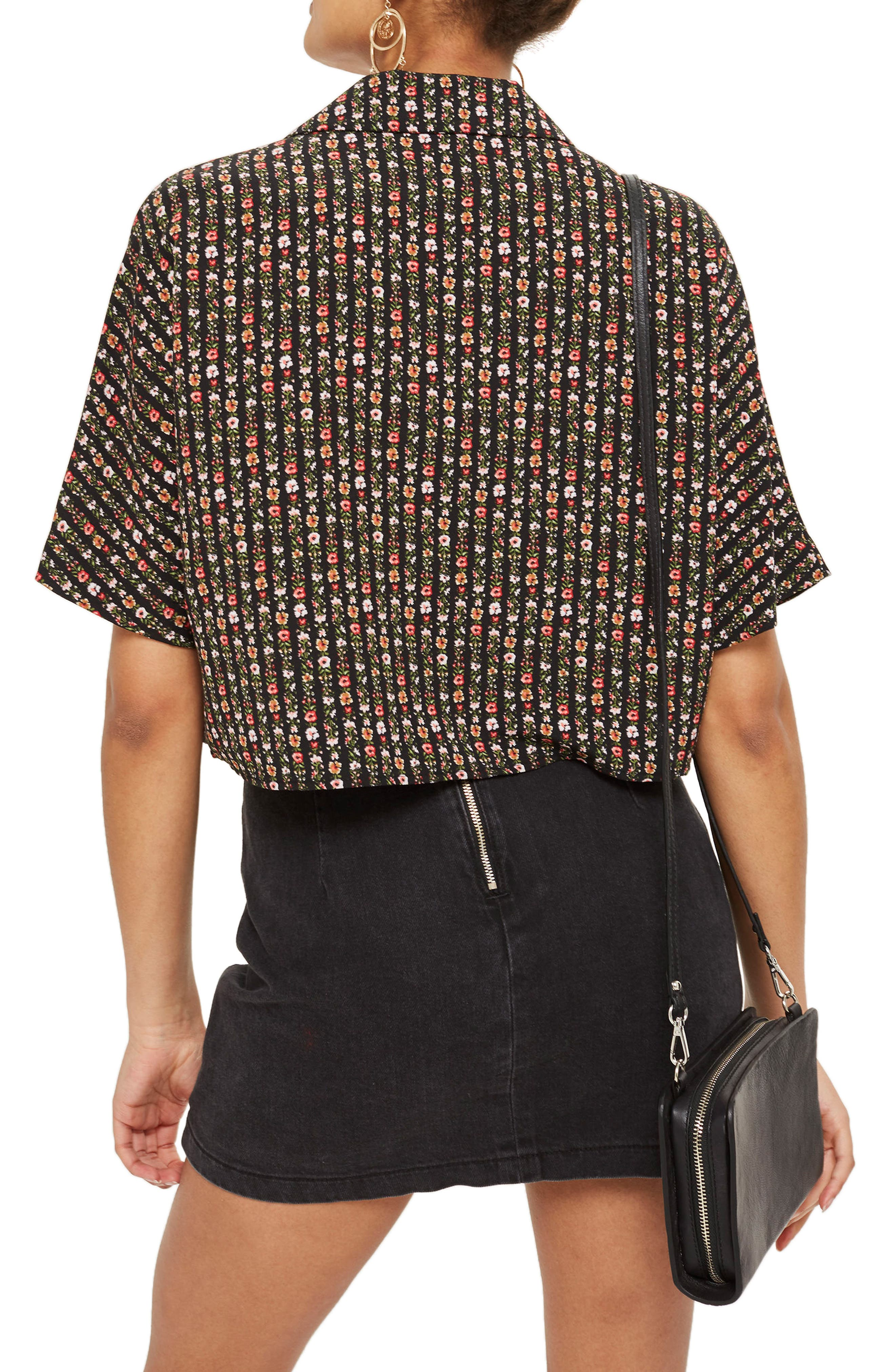 Stripe Ditsy Floral Crop Shirt,                             Alternate thumbnail 2, color,                             001