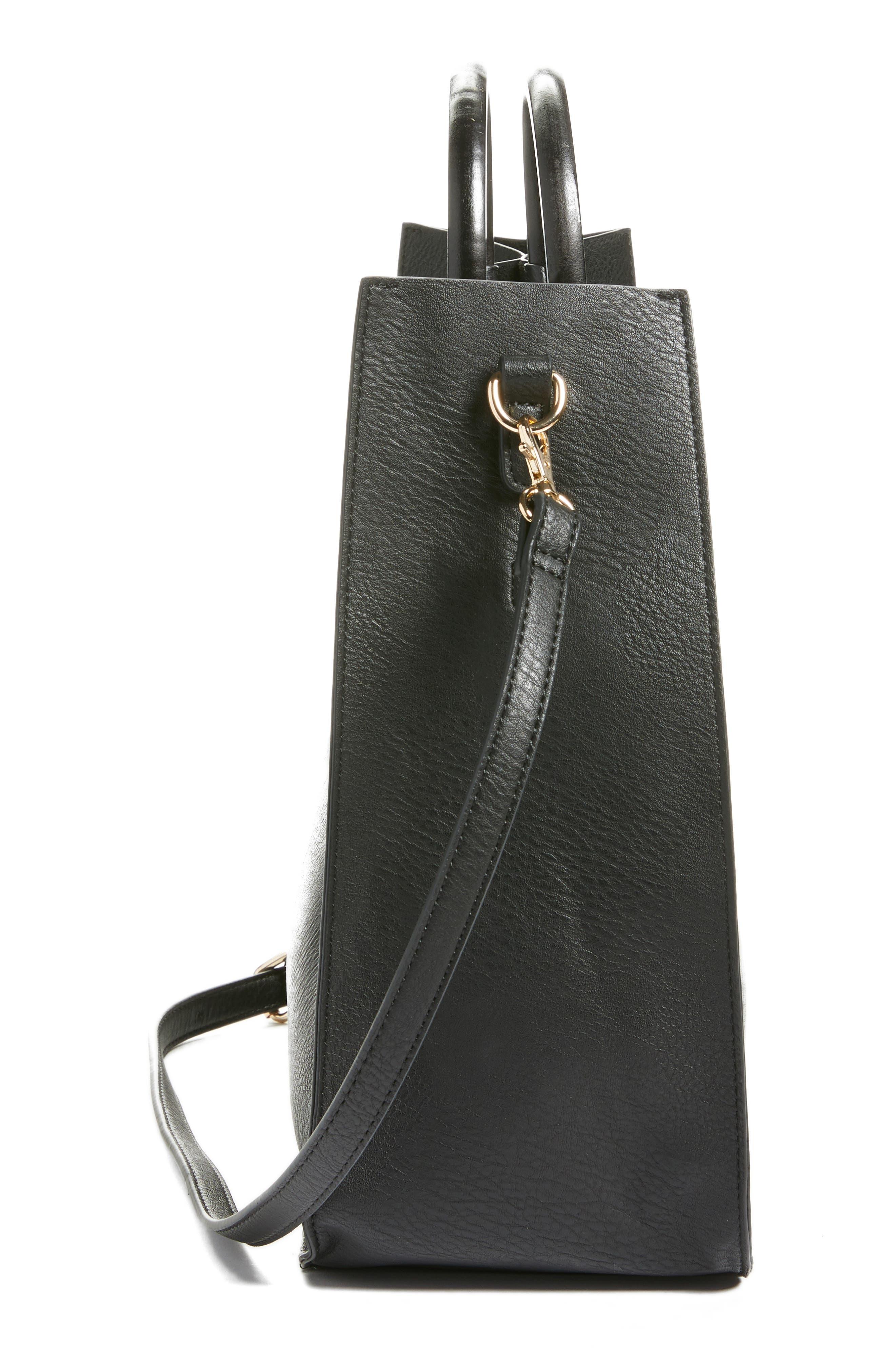 Wood Handle Faux Leather Tote,                             Alternate thumbnail 5, color,                             BLACK