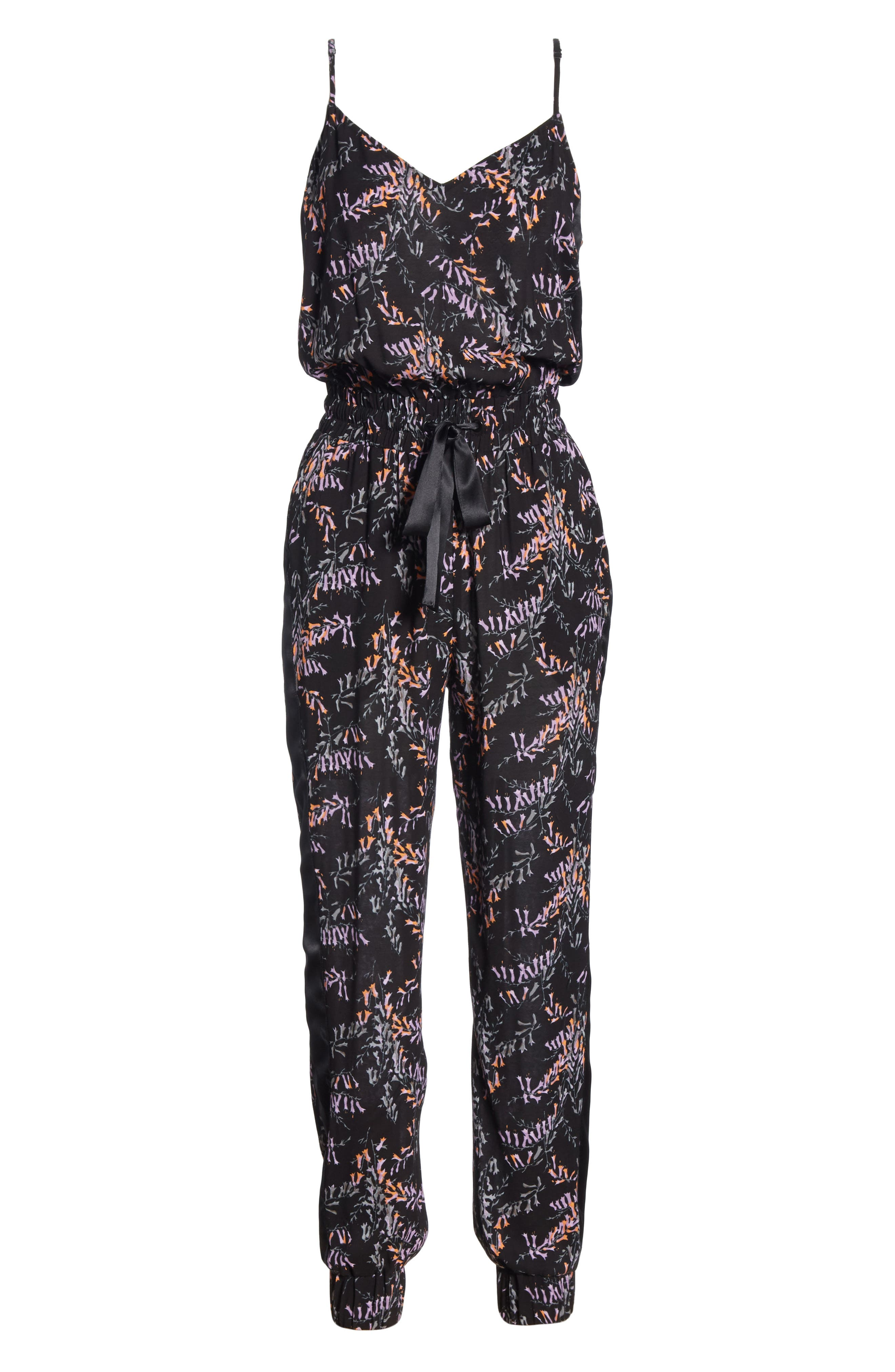 CINQ À SEPT,                             Amia Snapdragon Print Silk Jumpsuit,                             Alternate thumbnail 6, color,                             BLACK MULTI