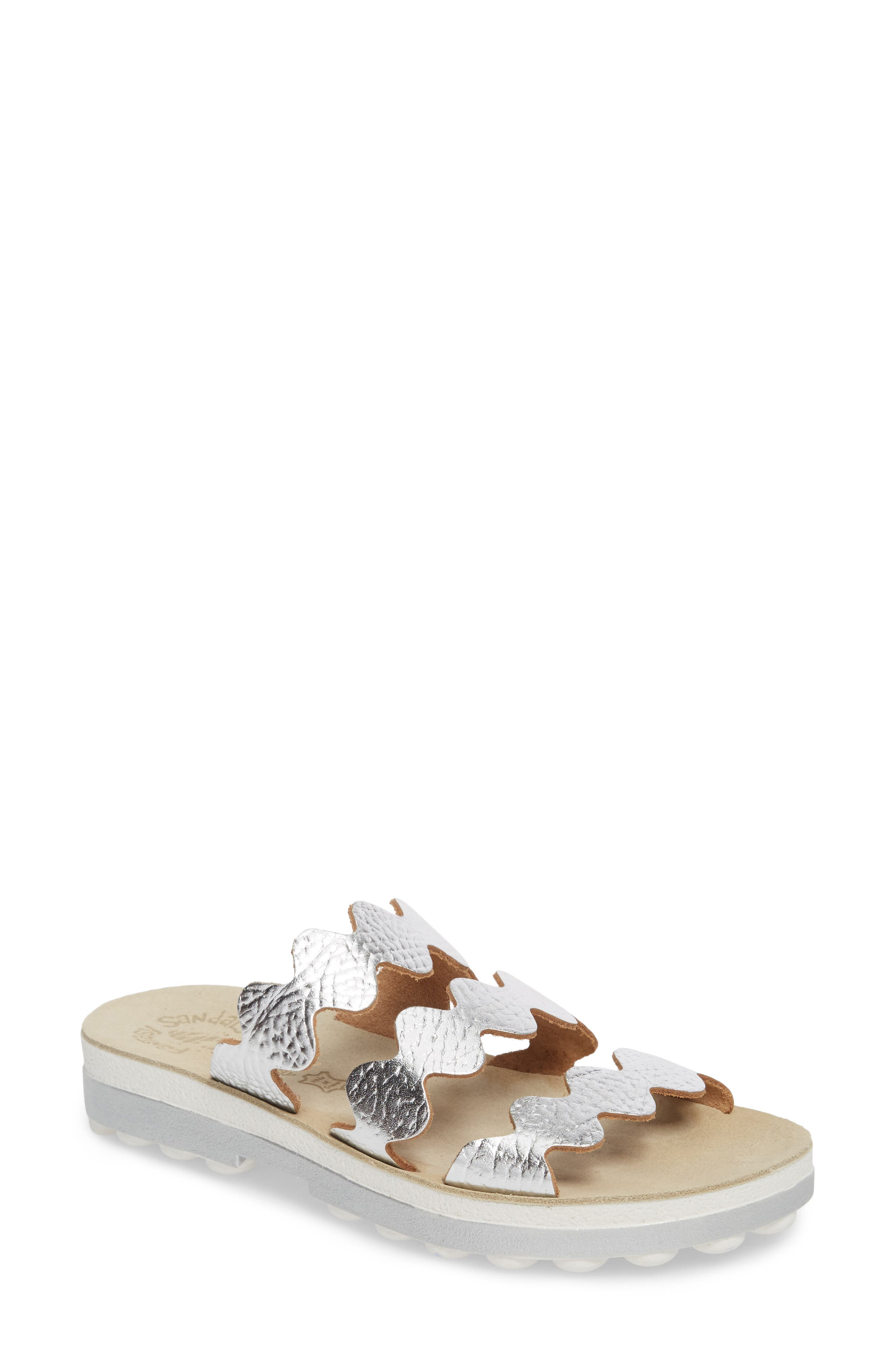 Waves Slide Sandal,                             Main thumbnail 1, color,                             SILVER VOLCANO LEATHER