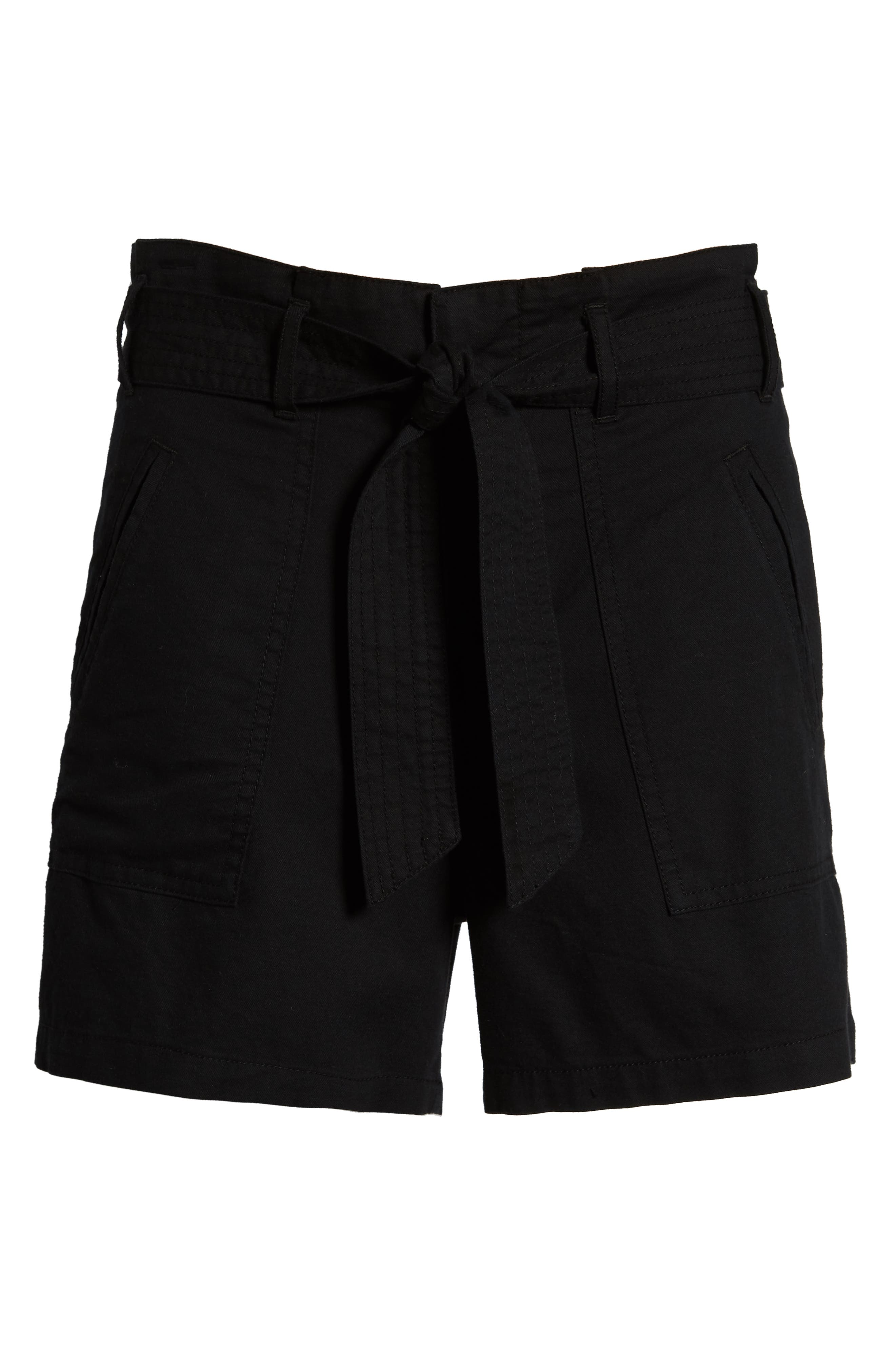 Belted Twill Shorts,                             Alternate thumbnail 6, color,                             BLACK
