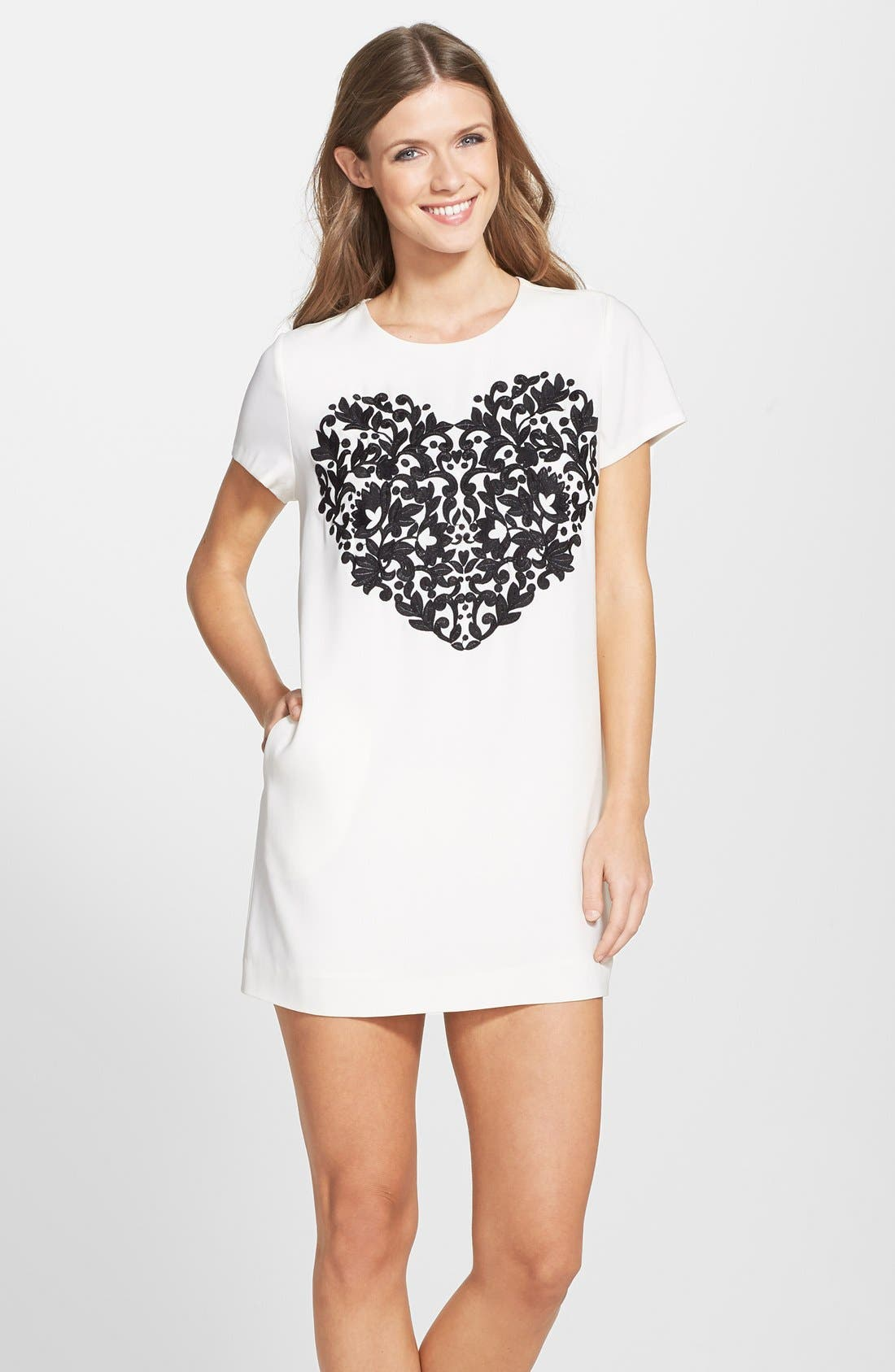 by Cynthia Steffe 'Moss' Embroidered Heart Crepe Shift Dress,                             Main thumbnail 1, color,                             900