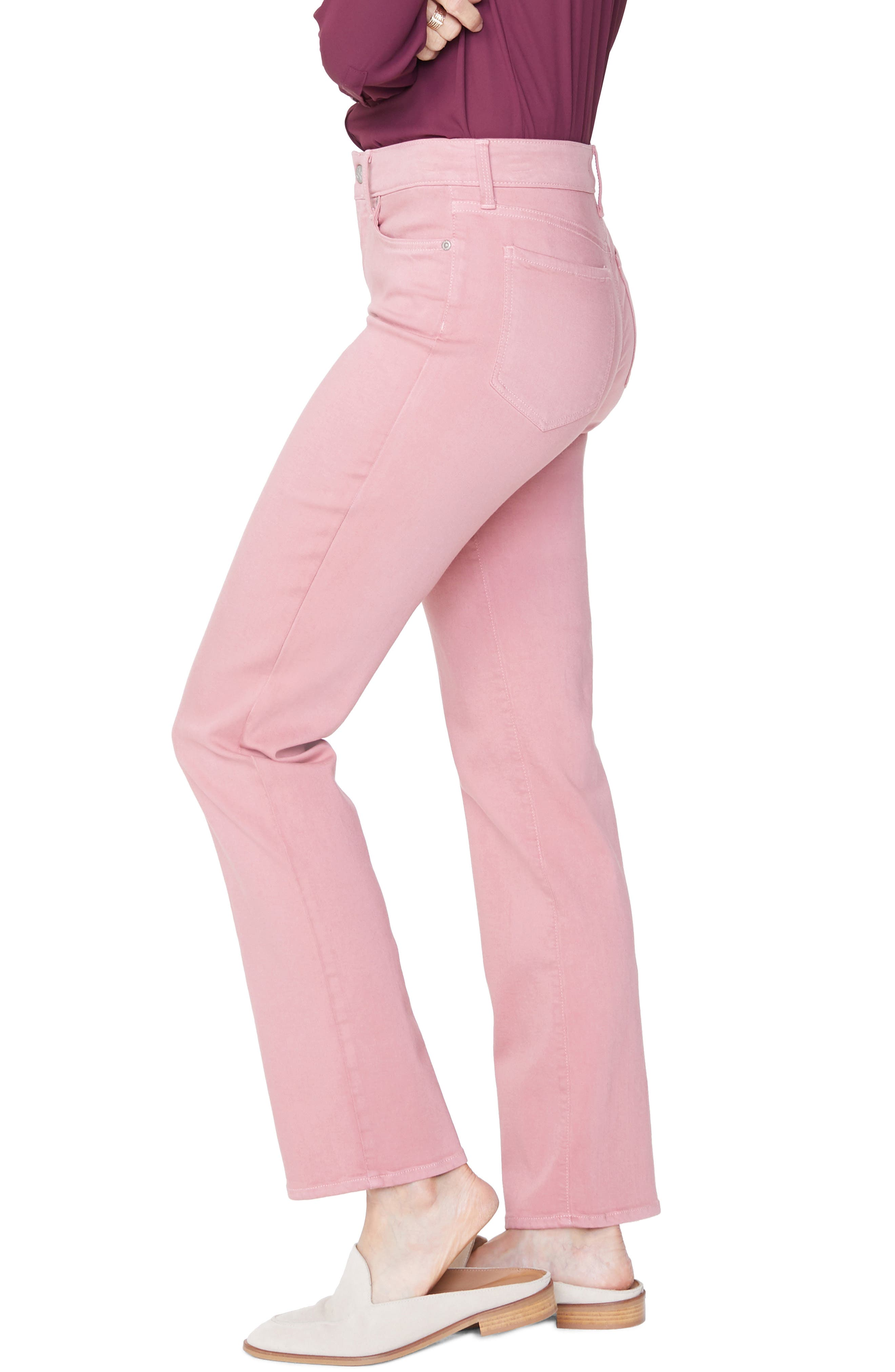 Marilyn Stretch Twill Straight Leg Pants,                             Alternate thumbnail 3, color,                             WOOD ROSE