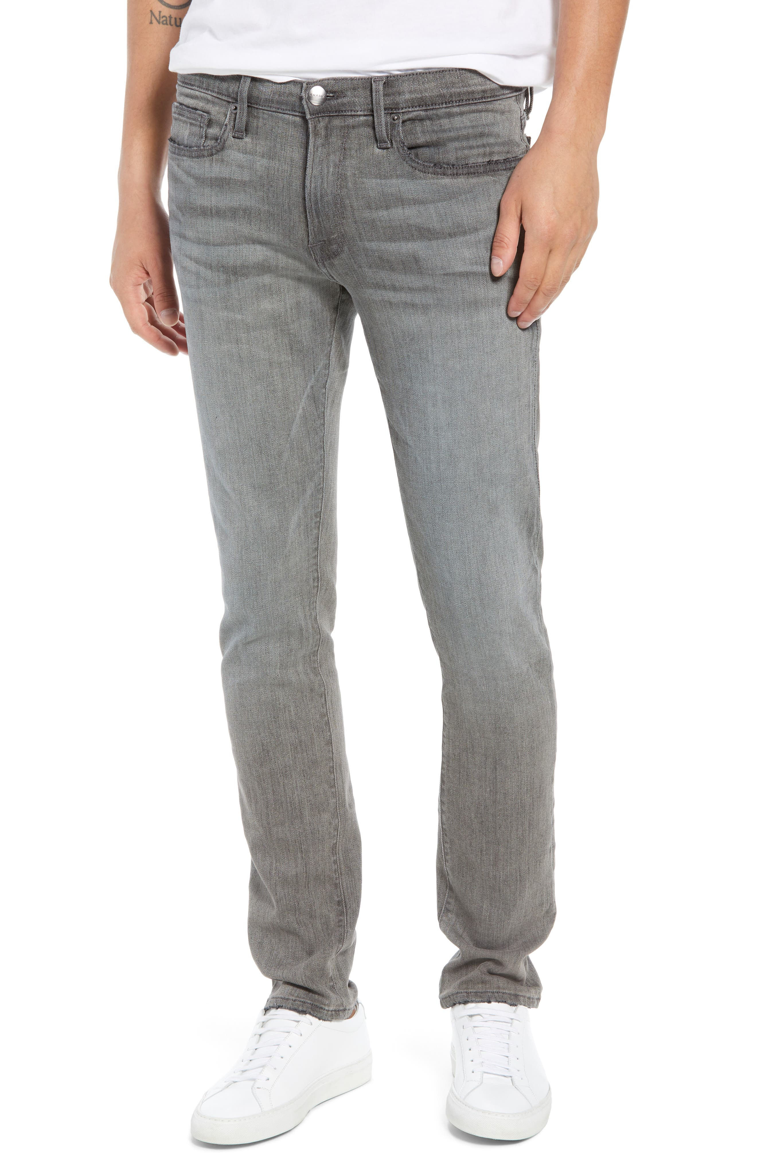 L'Homme Skinny Skinny Fit Jeans,                             Main thumbnail 1, color,                             FORT MCHEN