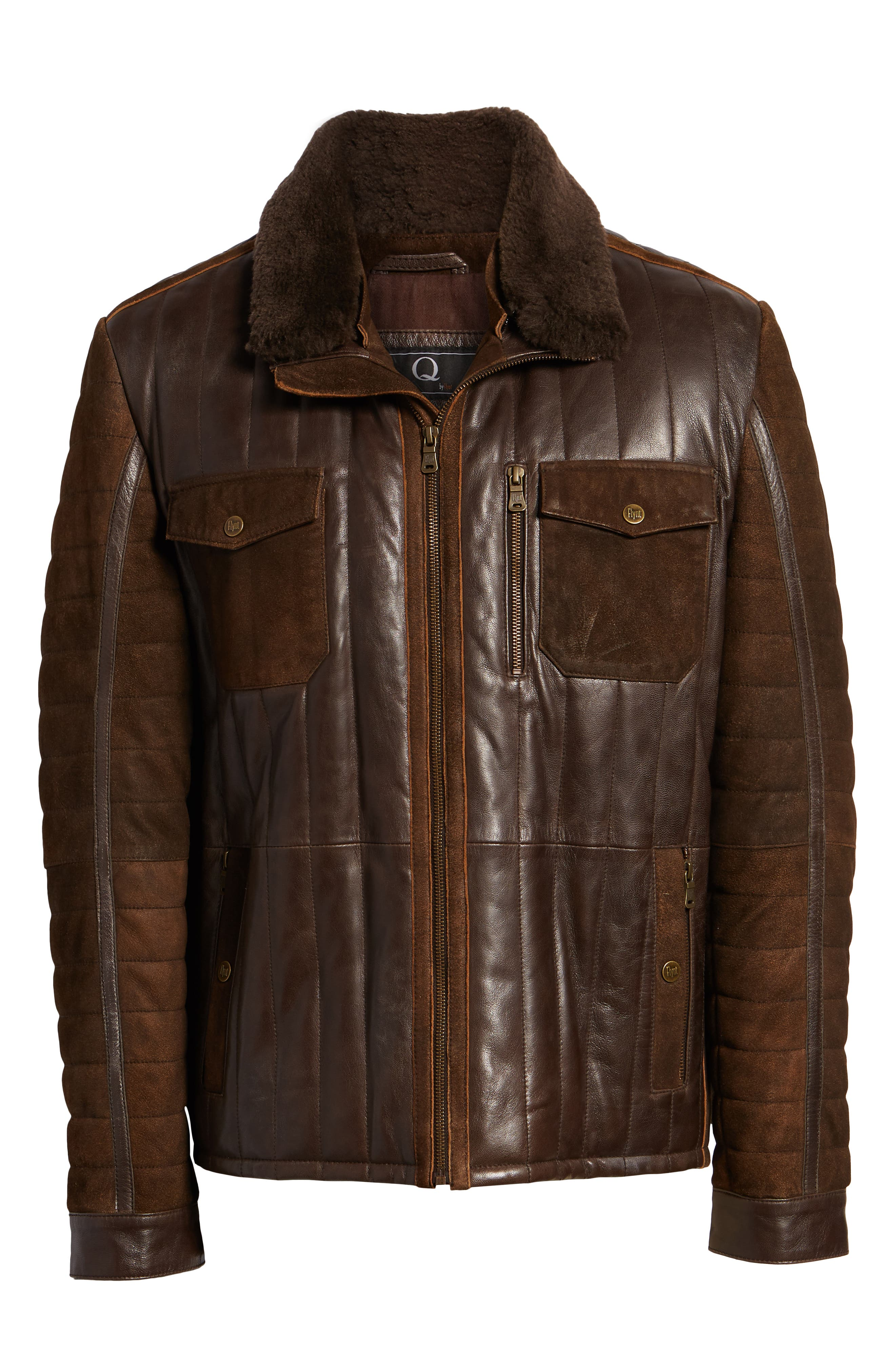 Genuine Shearling Trim Leather Bomber Jacket,                             Alternate thumbnail 6, color,                             201