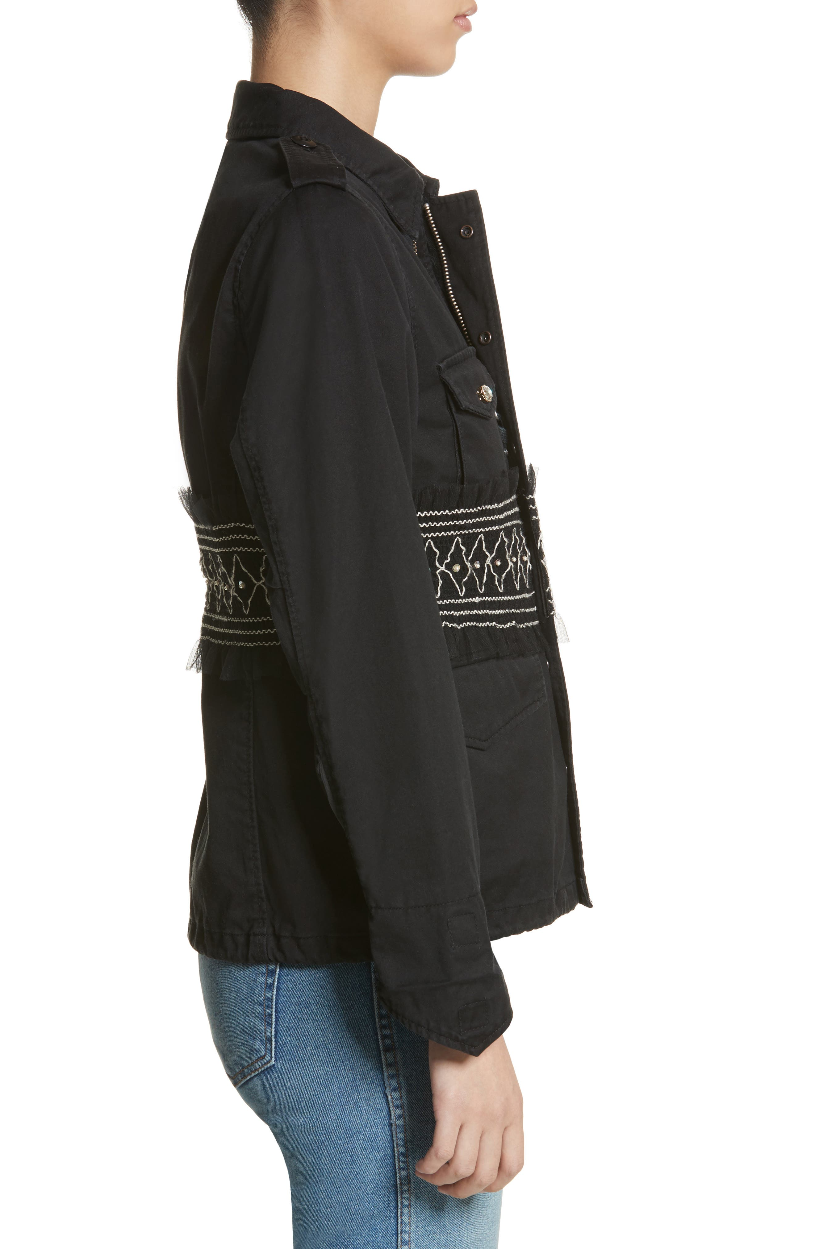 Smocked Embellished Belted Field Jacket,                             Alternate thumbnail 3, color,                             001