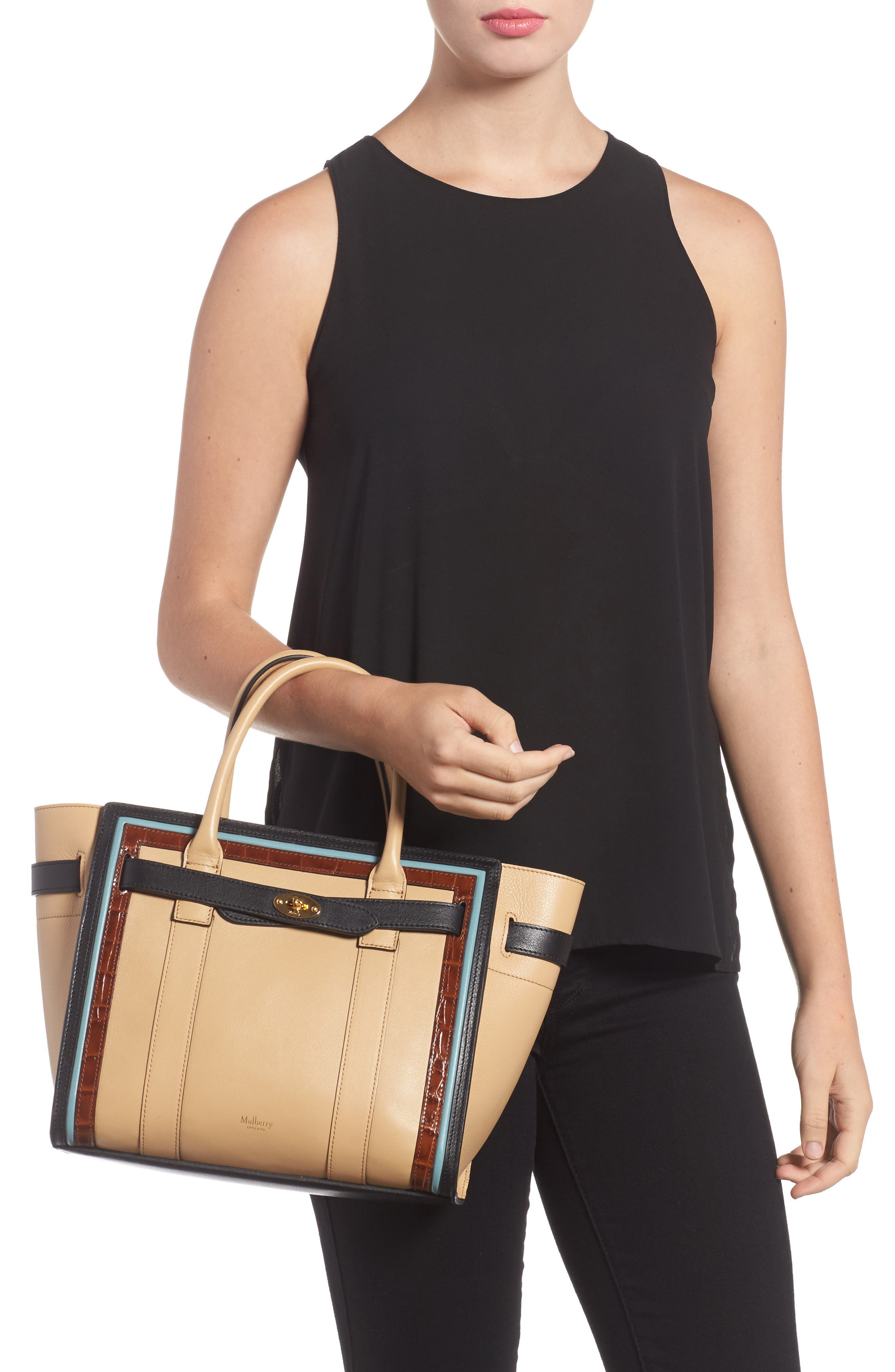 Small Bayswater Leather Satchel,                             Alternate thumbnail 2, color,                             010