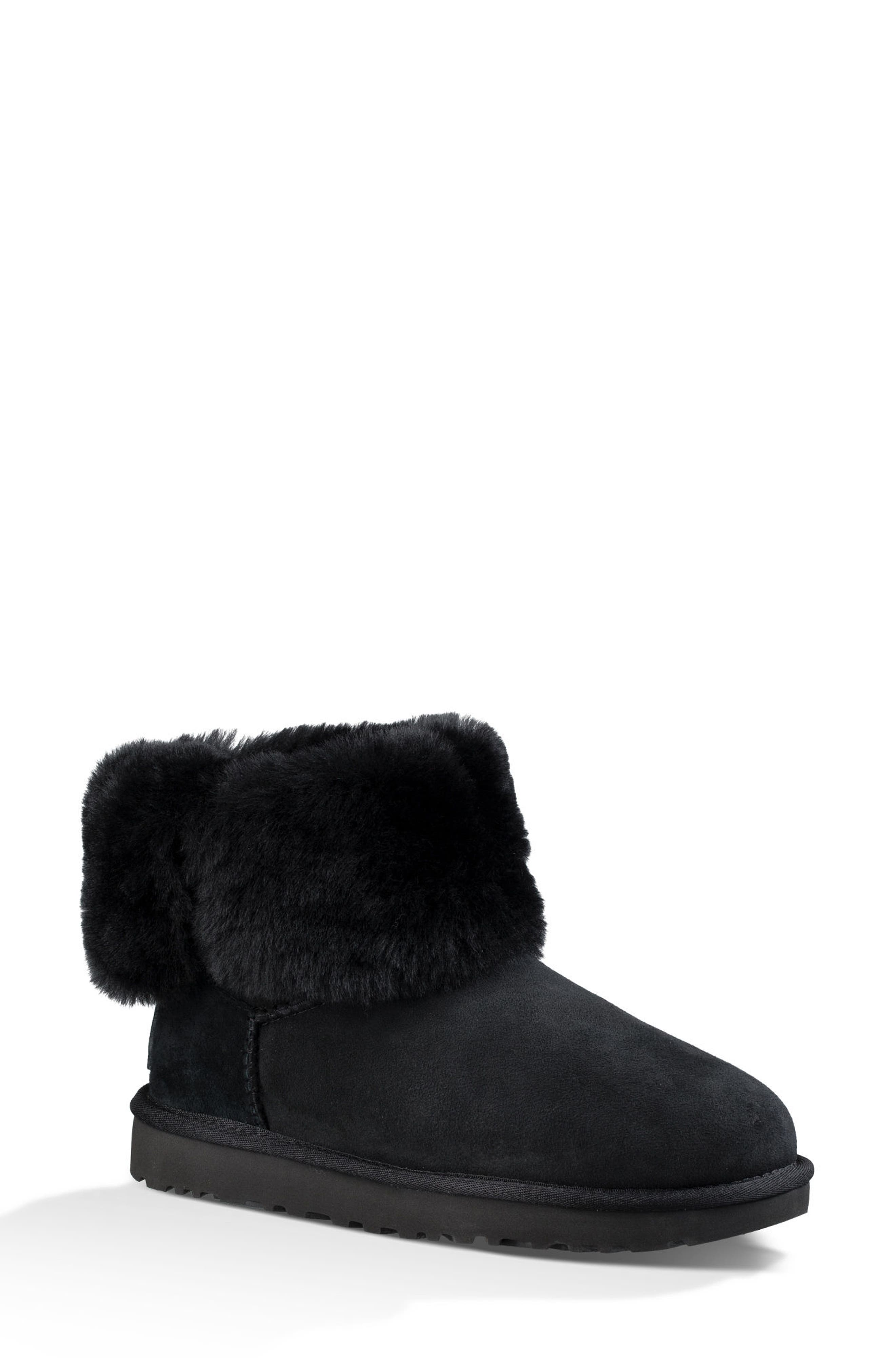 Bailey Button Bling Genuine Shearling Boot,                             Alternate thumbnail 2, color,                             BLACK SUEDE