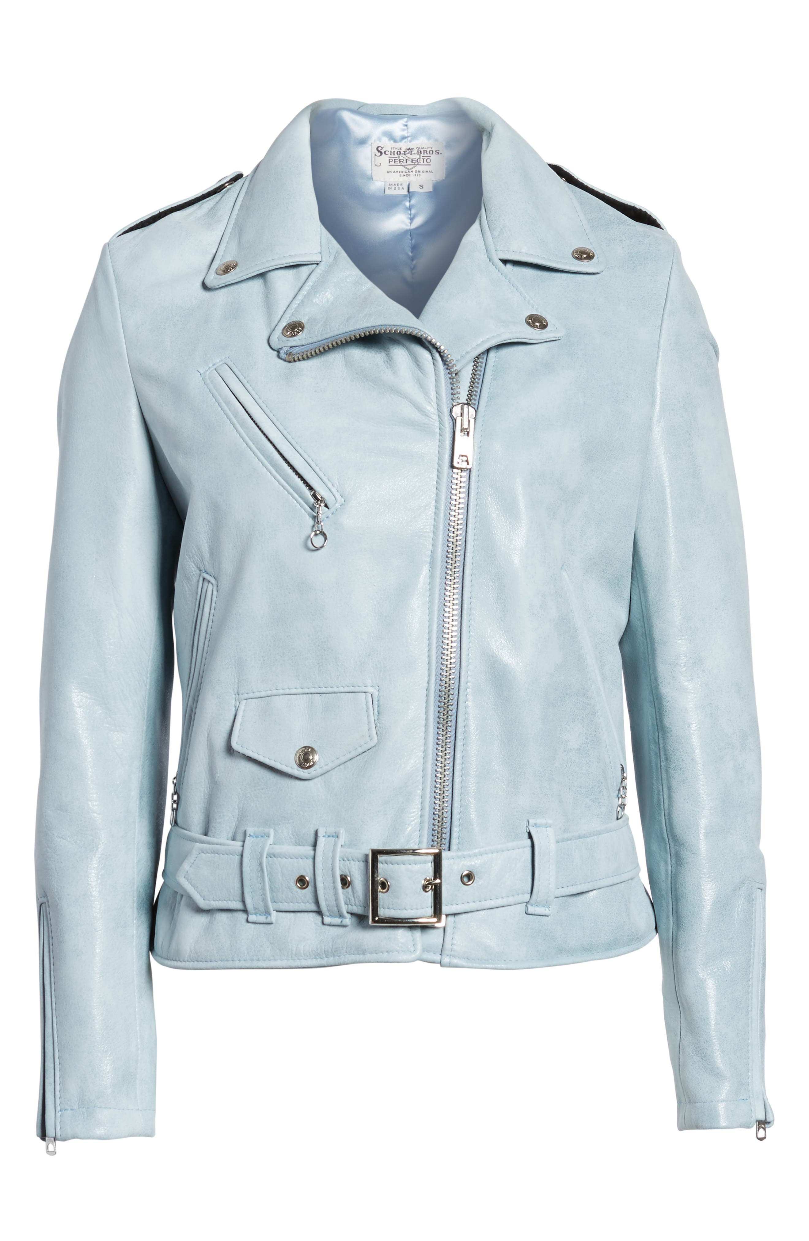 Perfecto Distressed Leather Boyfriend Jacket,                             Alternate thumbnail 14, color,