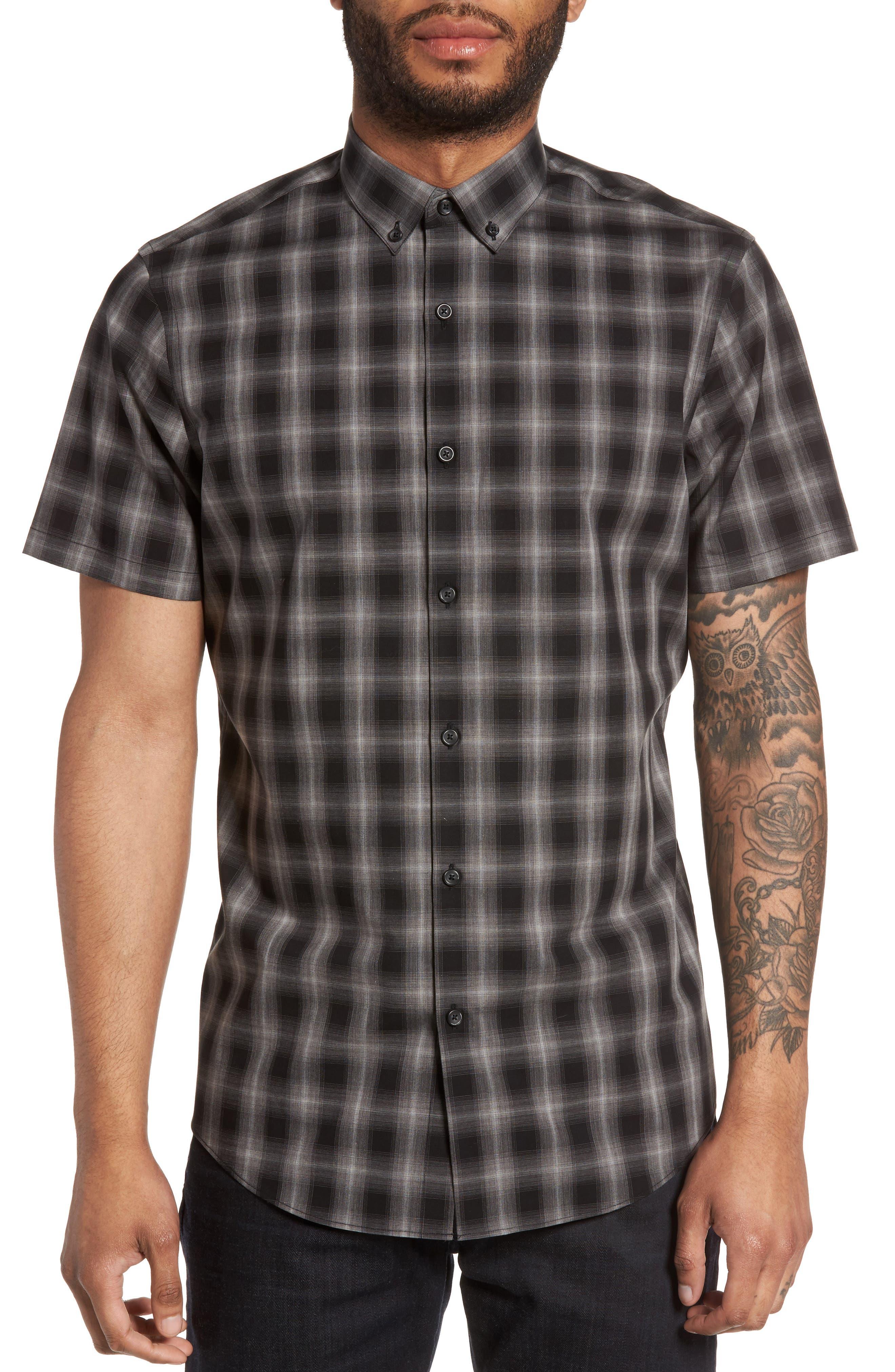 Plaid Non-Iron Sport Shirt,                         Main,                         color, 001
