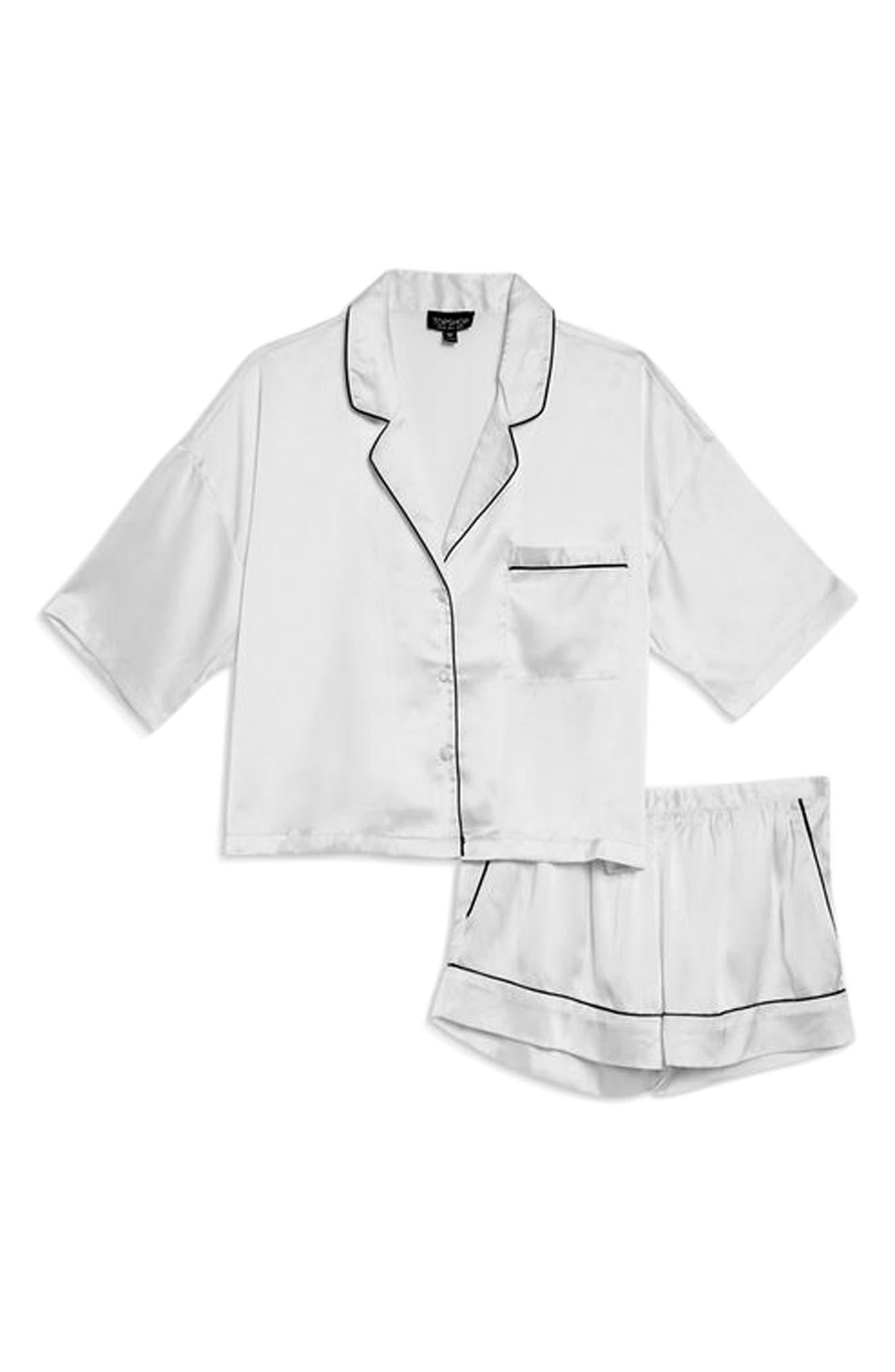 TOPSHOP,                             Chloe Satin Short Pajamas,                             Alternate thumbnail 3, color,                             100