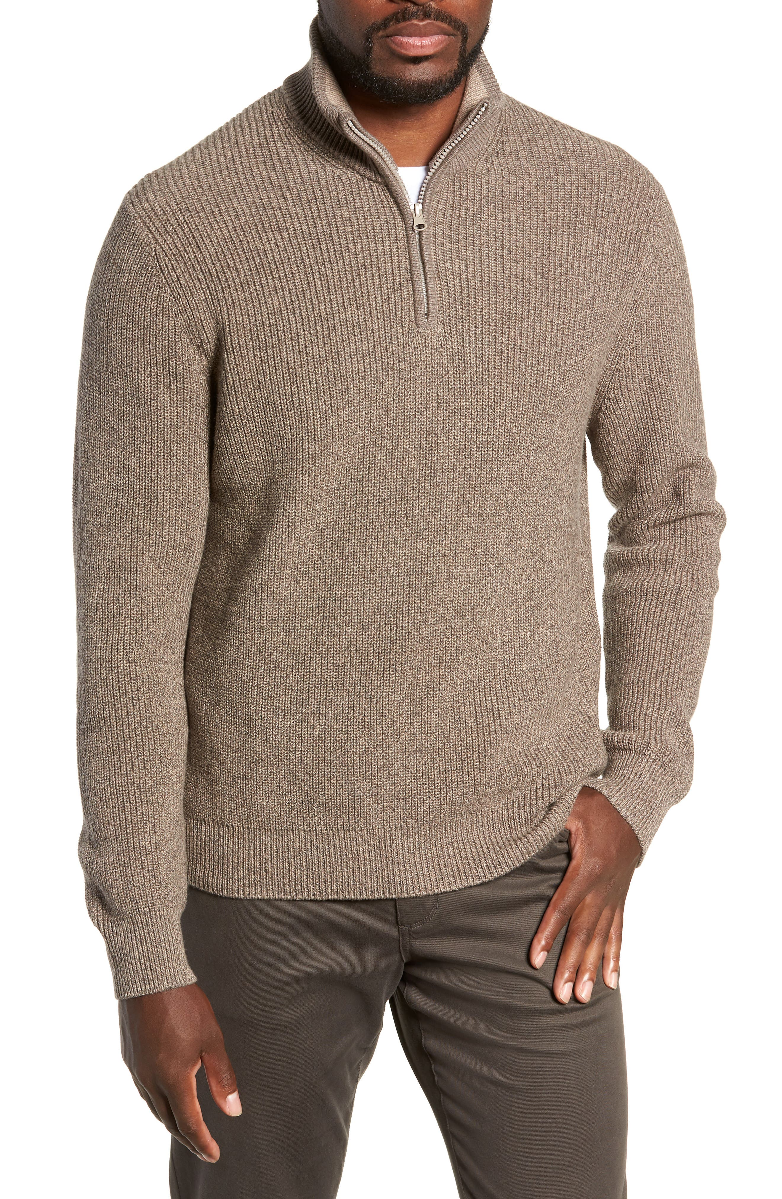 ZACHARY PRELL Fillmore Quarter Zip Sweater in Sand