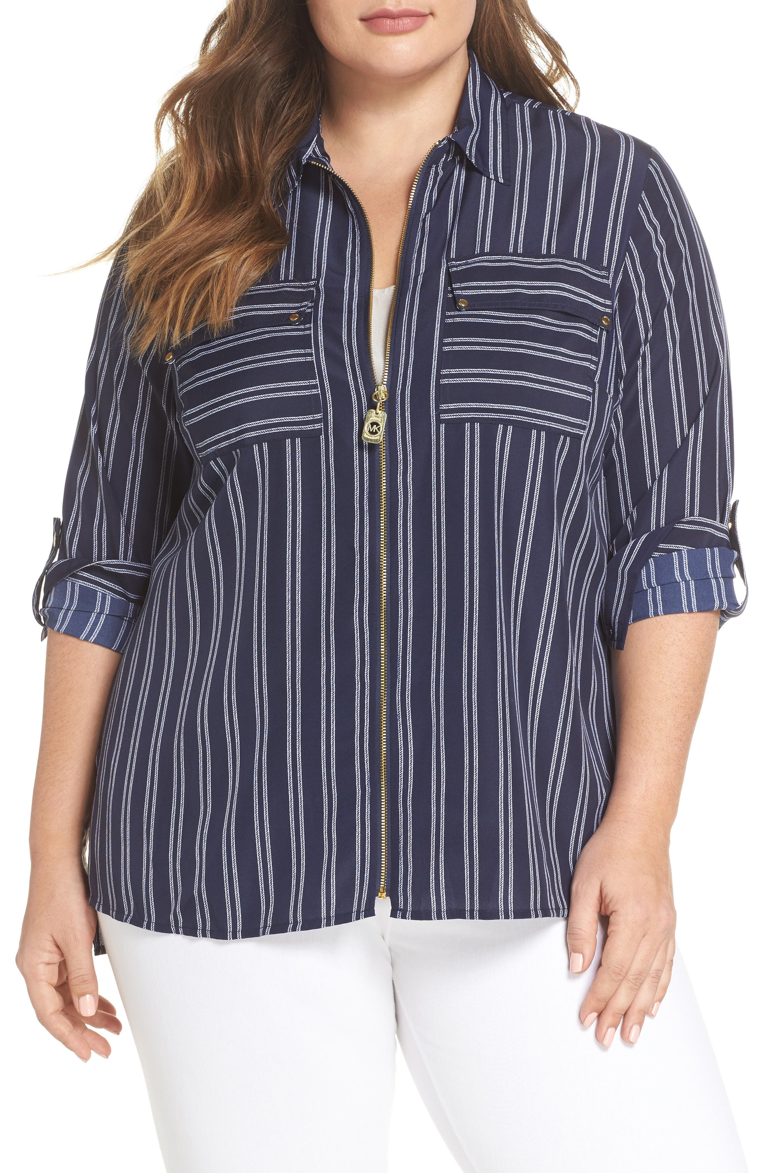 Bengal Stripe Zip Shirt Jacket,                         Main,                         color, 456
