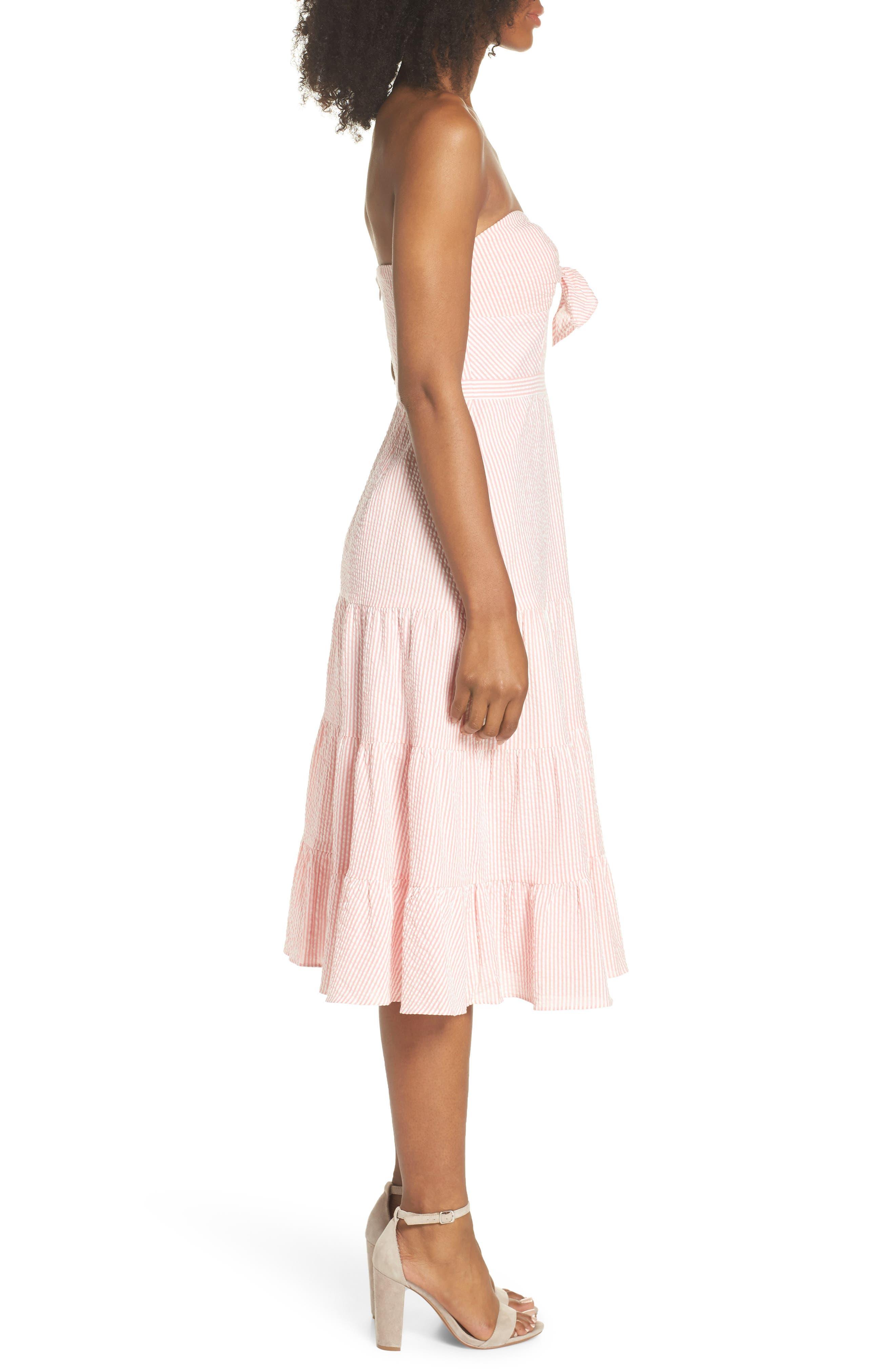 Tie Front Strapless Dress,                             Alternate thumbnail 7, color,