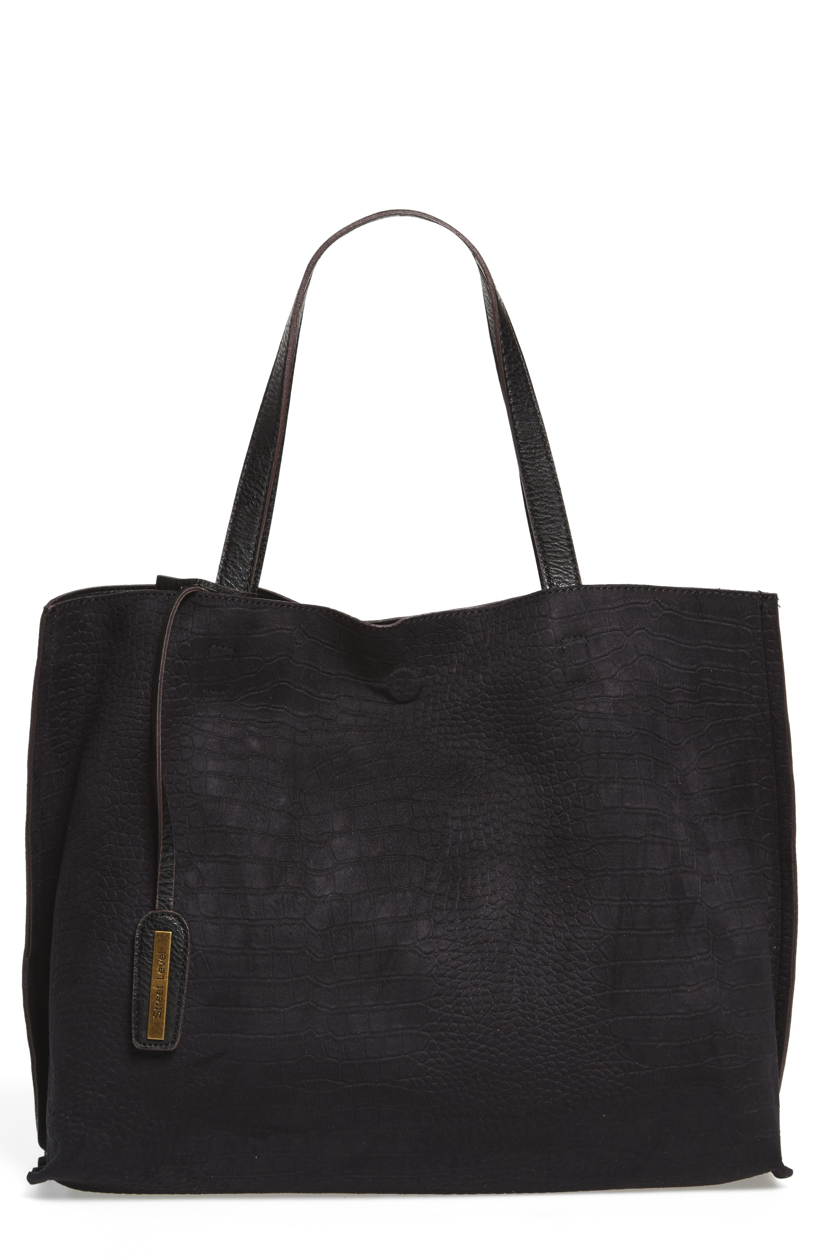Reversible Textured Faux Leather Tote,                             Main thumbnail 1, color,                             001