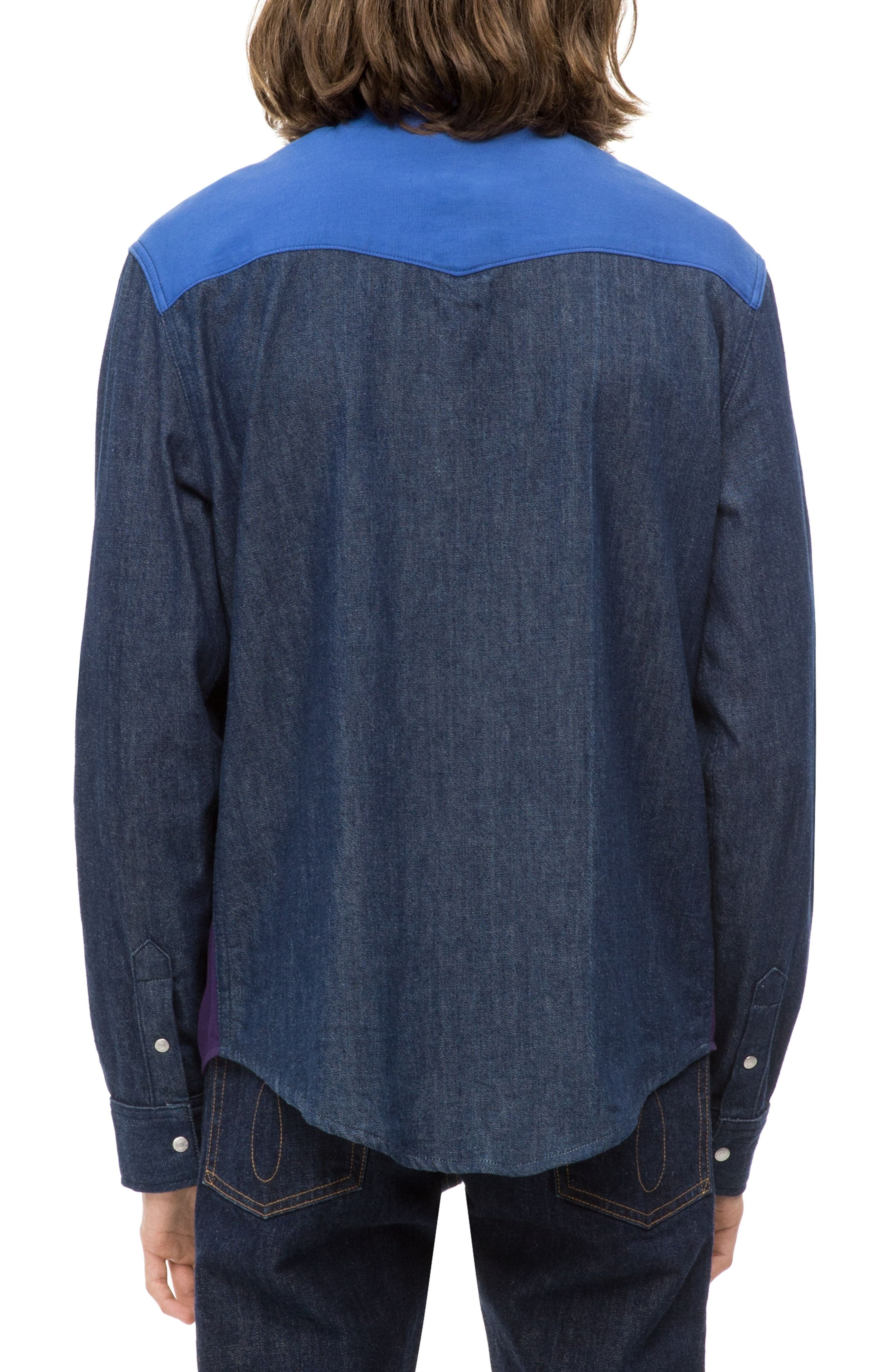 Calvin Klein Colorblock Western Shirt,                             Alternate thumbnail 3, color,                             OLIVIA RINSE
