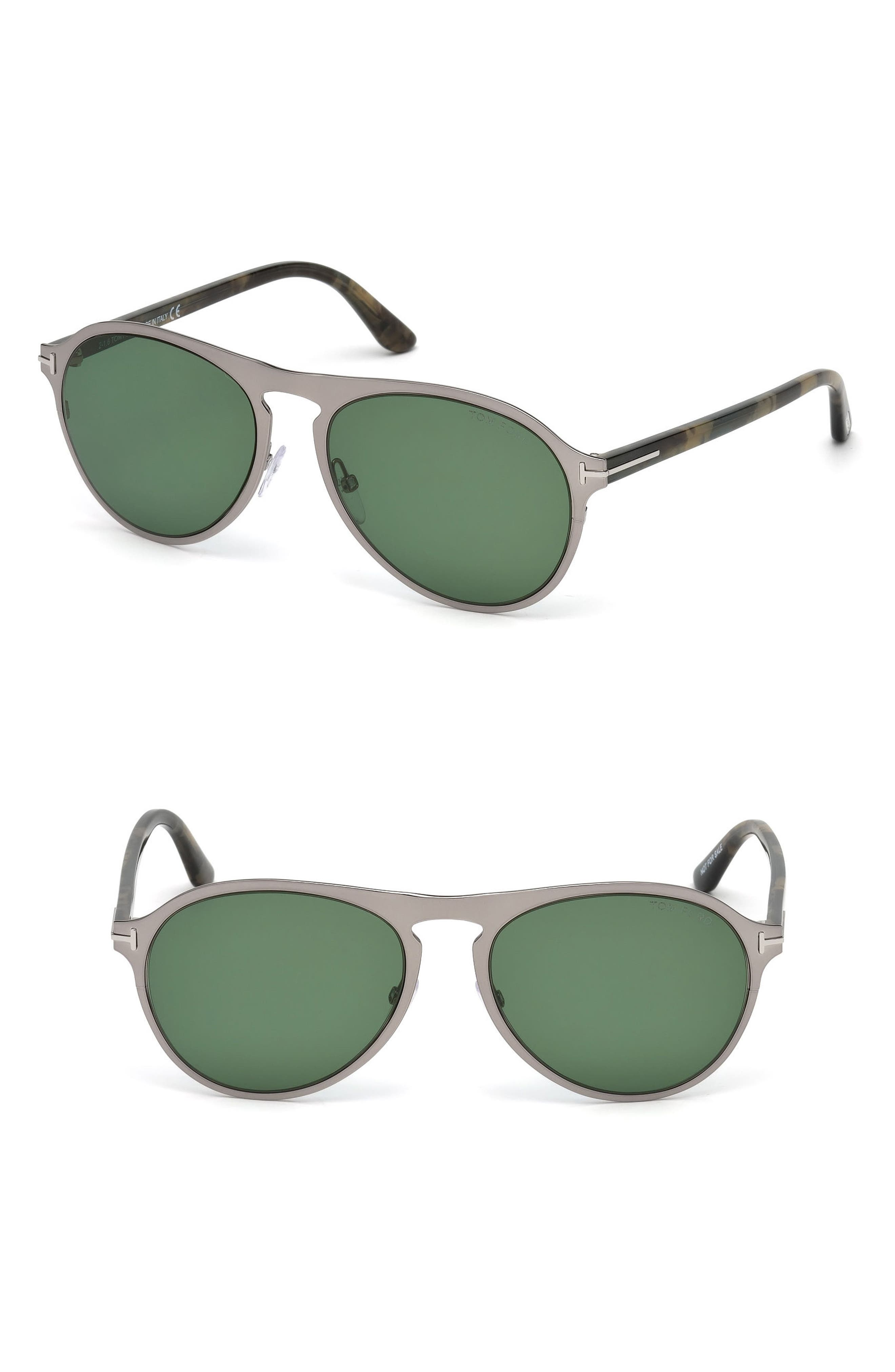 Bradburry 56mm Sunglasses, Main, color, SHINY LIGHT RUTHENIUM / GREEN