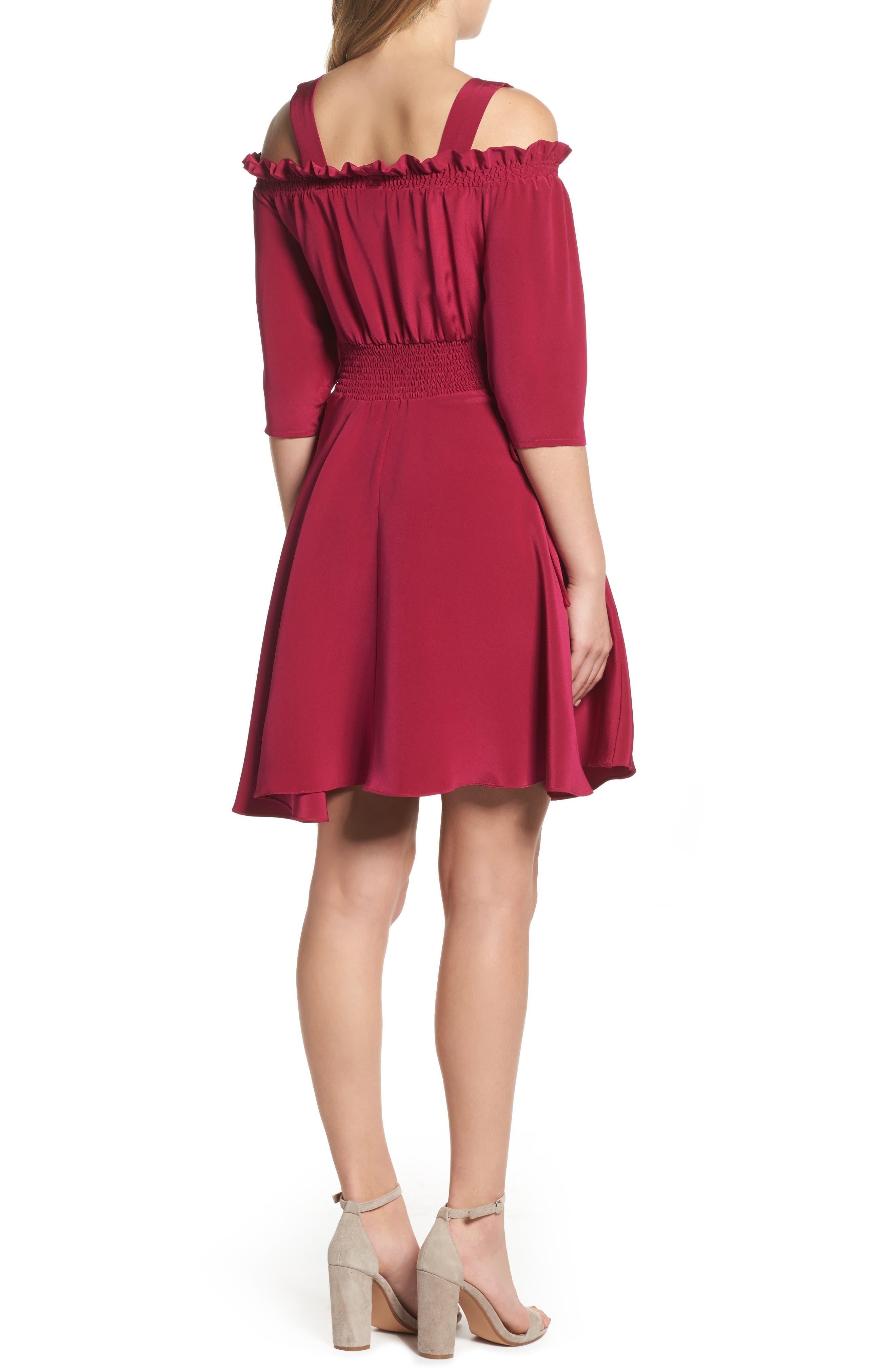 Cold Shoulder A-Line Dress,                             Alternate thumbnail 2, color,                             654