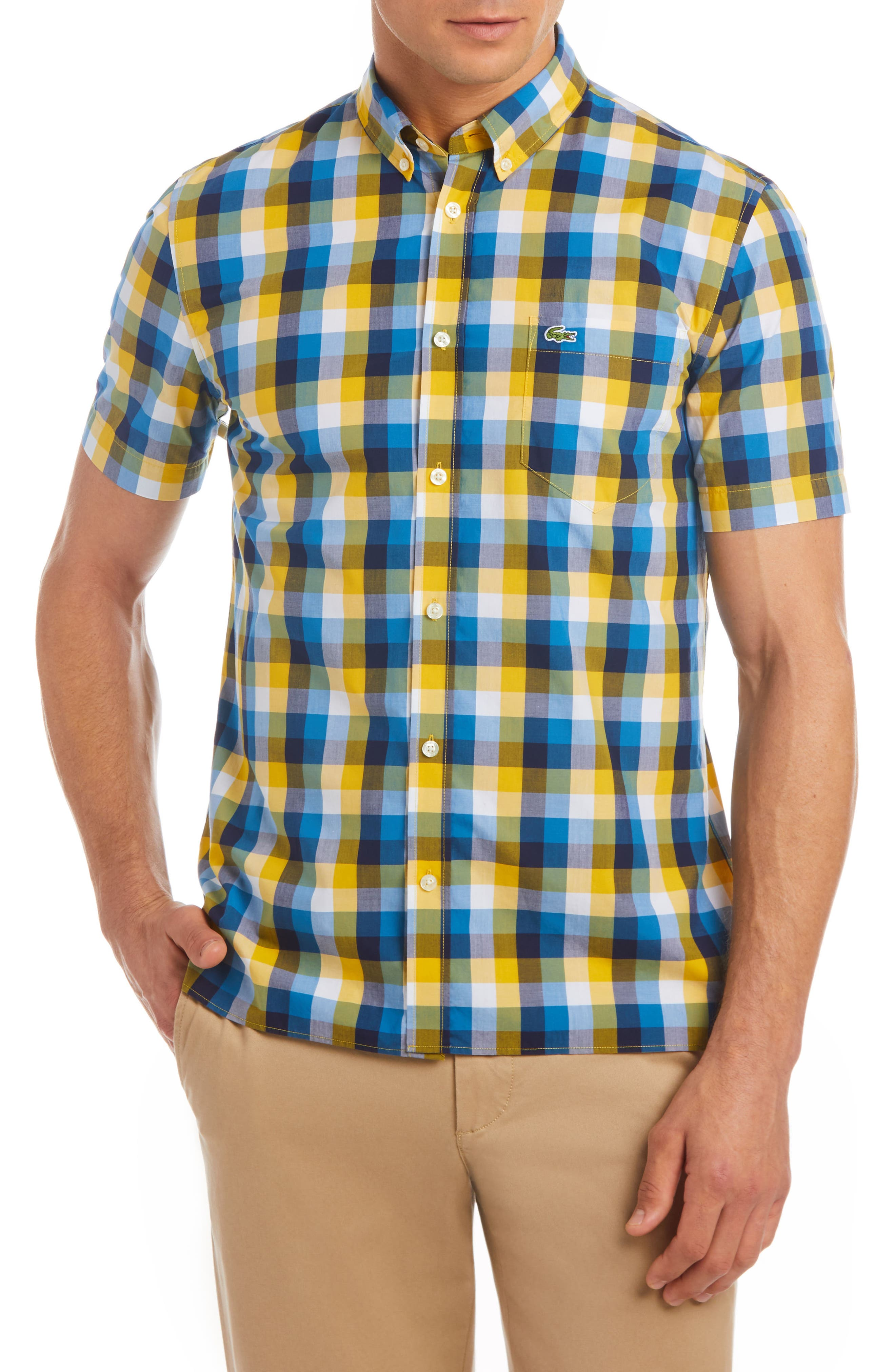 Regular Fit Check Short Sleeve Sport Shirt,                             Main thumbnail 3, color,