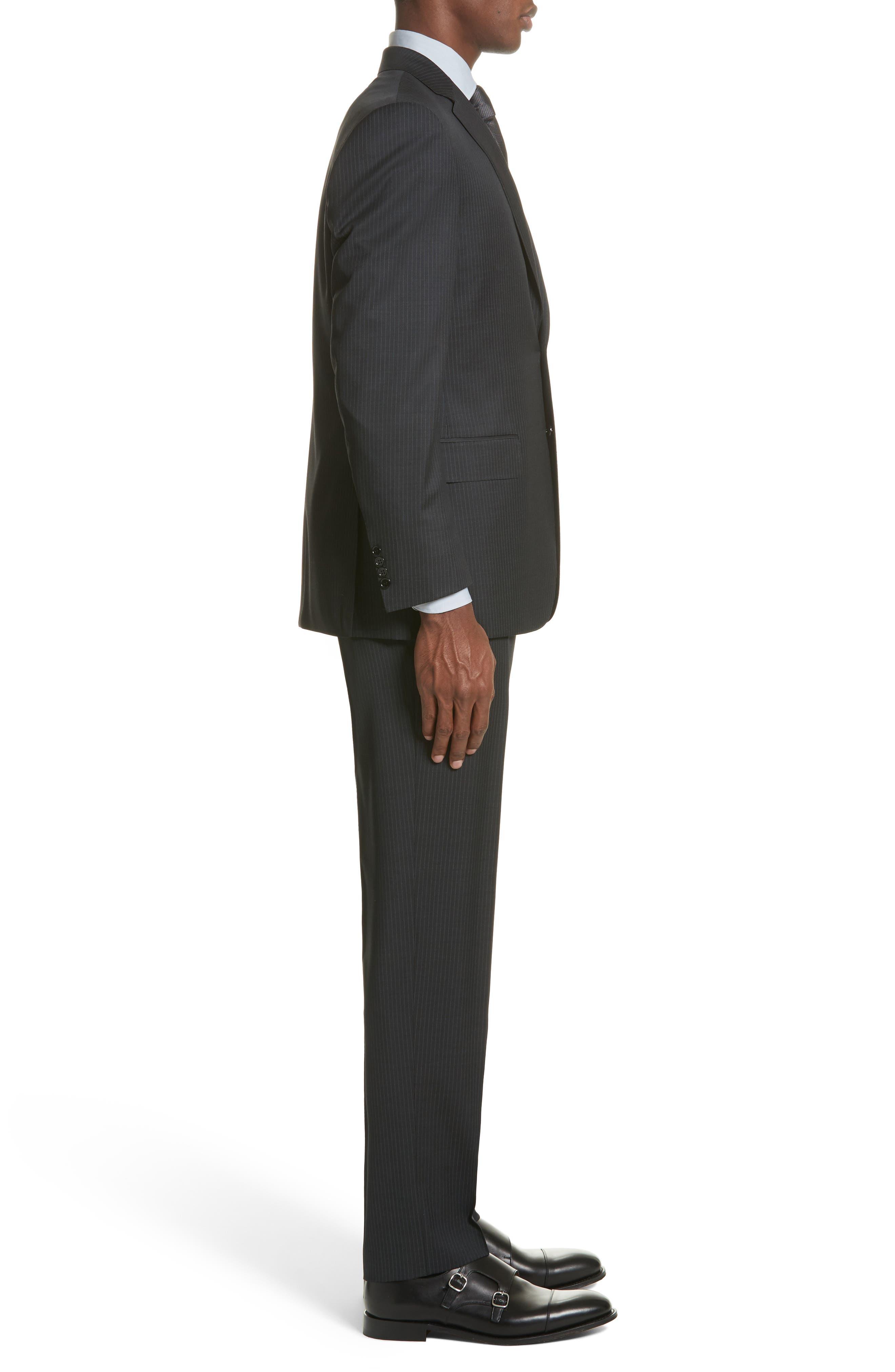 CANALI,                             Classic Fit Stripe Wool Suit,                             Alternate thumbnail 3, color,                             010