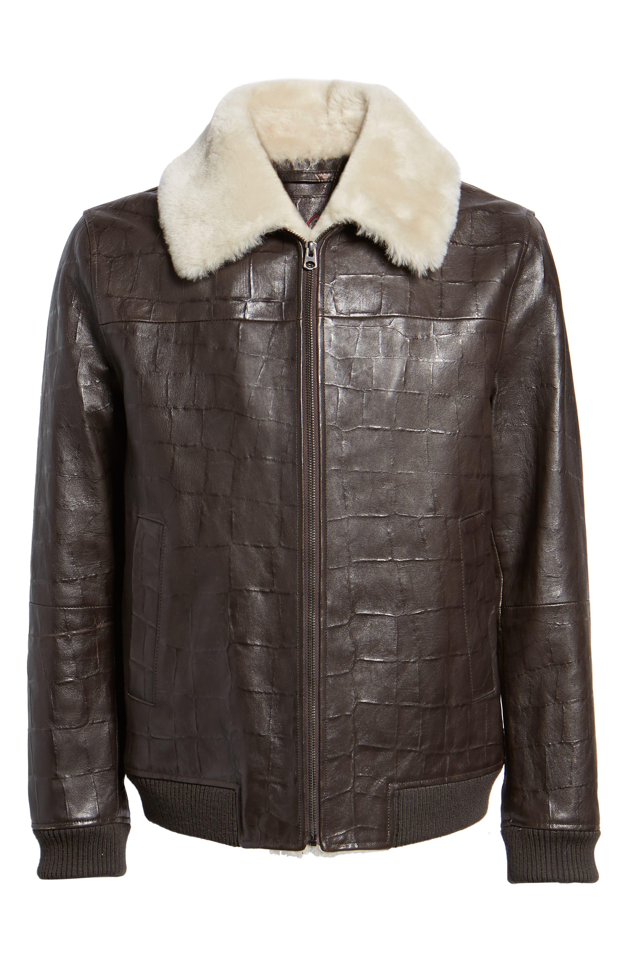 Corson Genuine Shearling Jacket,                             Alternate thumbnail 5, color,                             BROWN