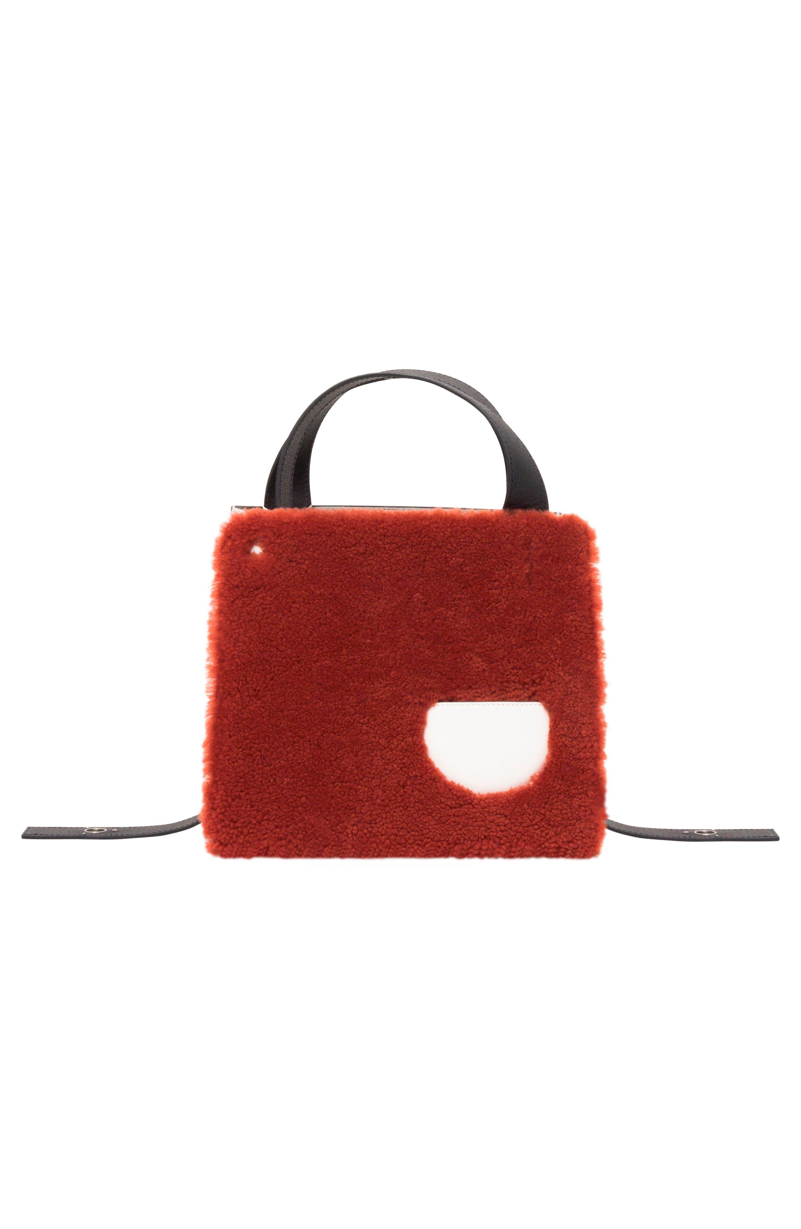 Margot Leather & Genuine Shearling Tote Bag,                             Alternate thumbnail 5, color,                             SHEARLING BRICK