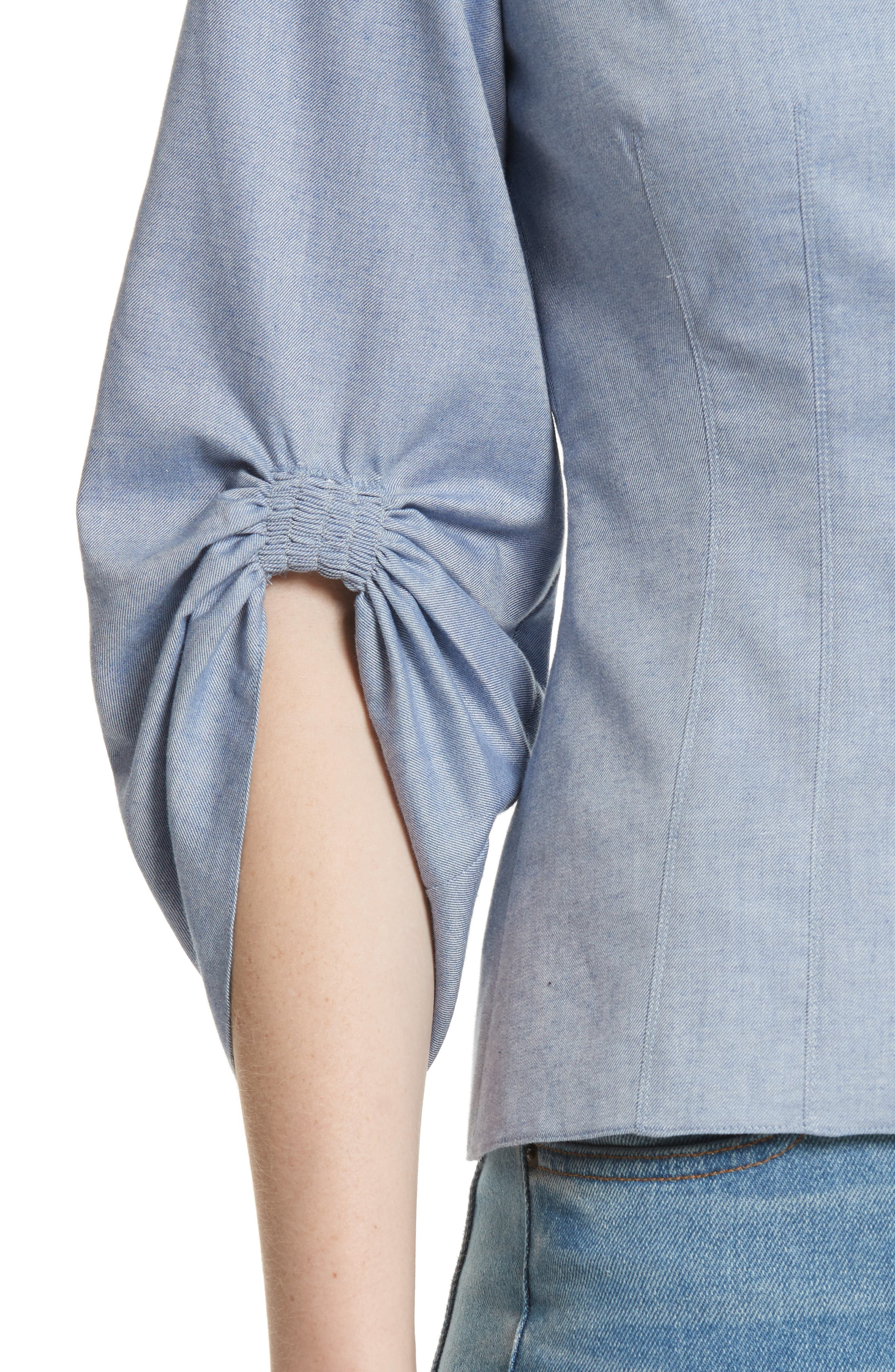 Corset Ruched Sleeve Top,                             Alternate thumbnail 4, color,