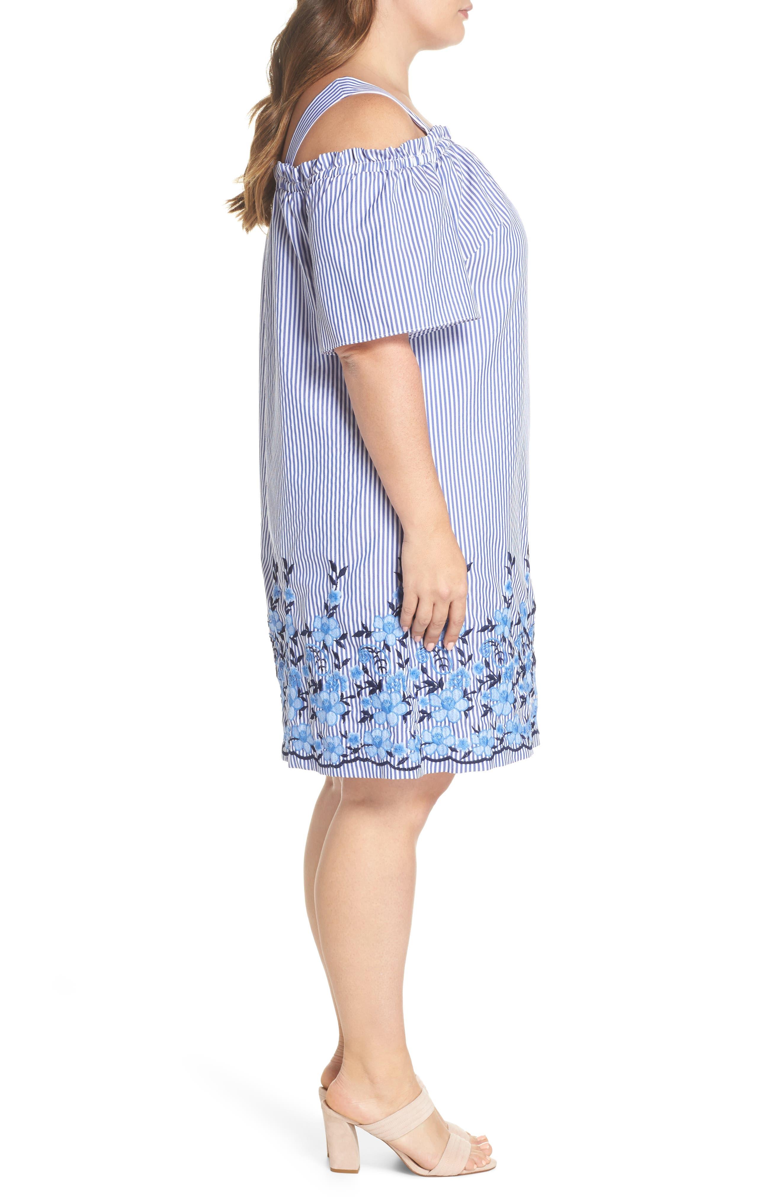 Embroidered Hem Stripe Off the Shoulder Shift Dress,                             Alternate thumbnail 3, color,                             BLUE/ WHITE