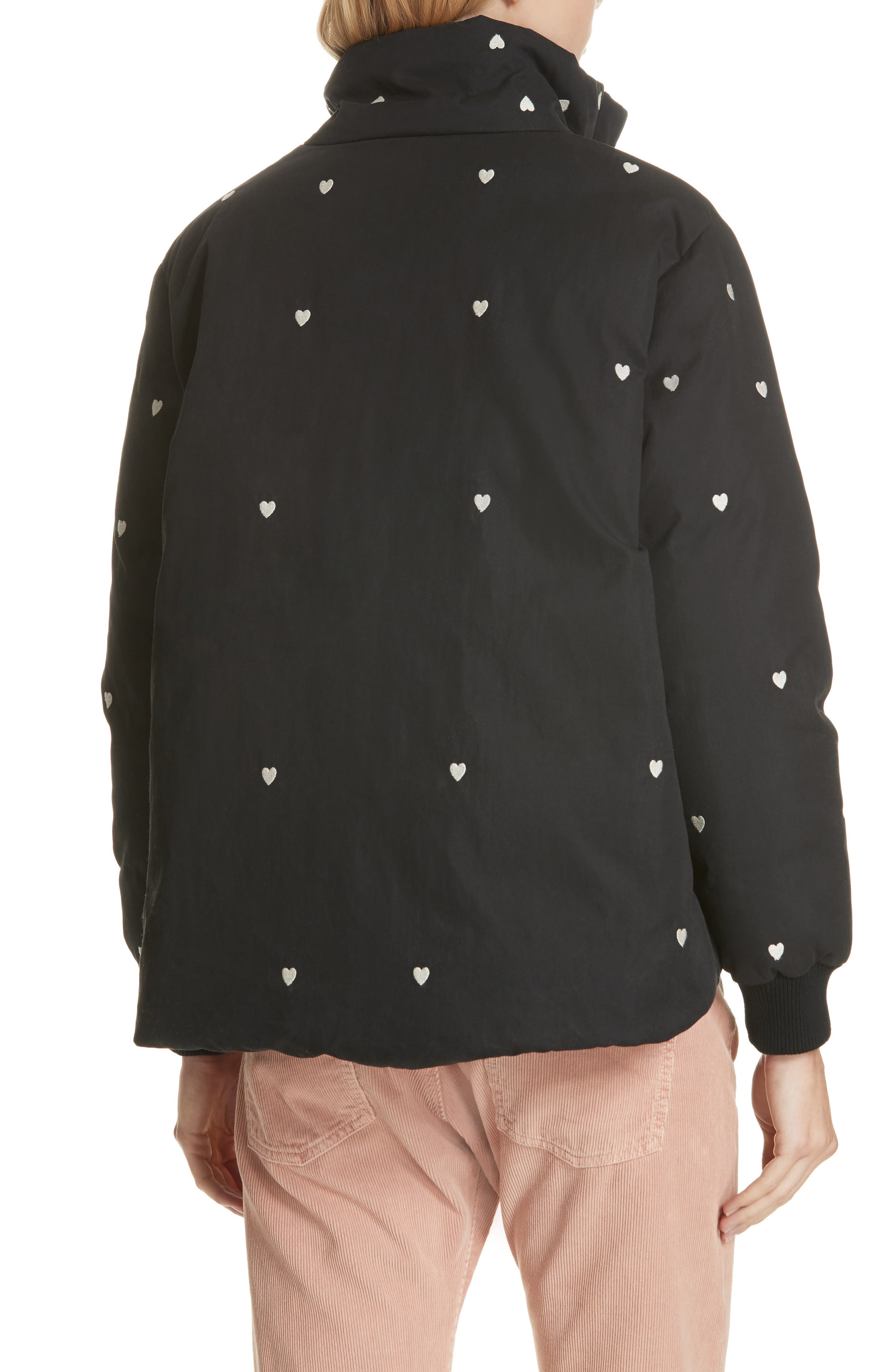 Heart Embroidered Puffer Coat,                             Alternate thumbnail 2, color,                             019