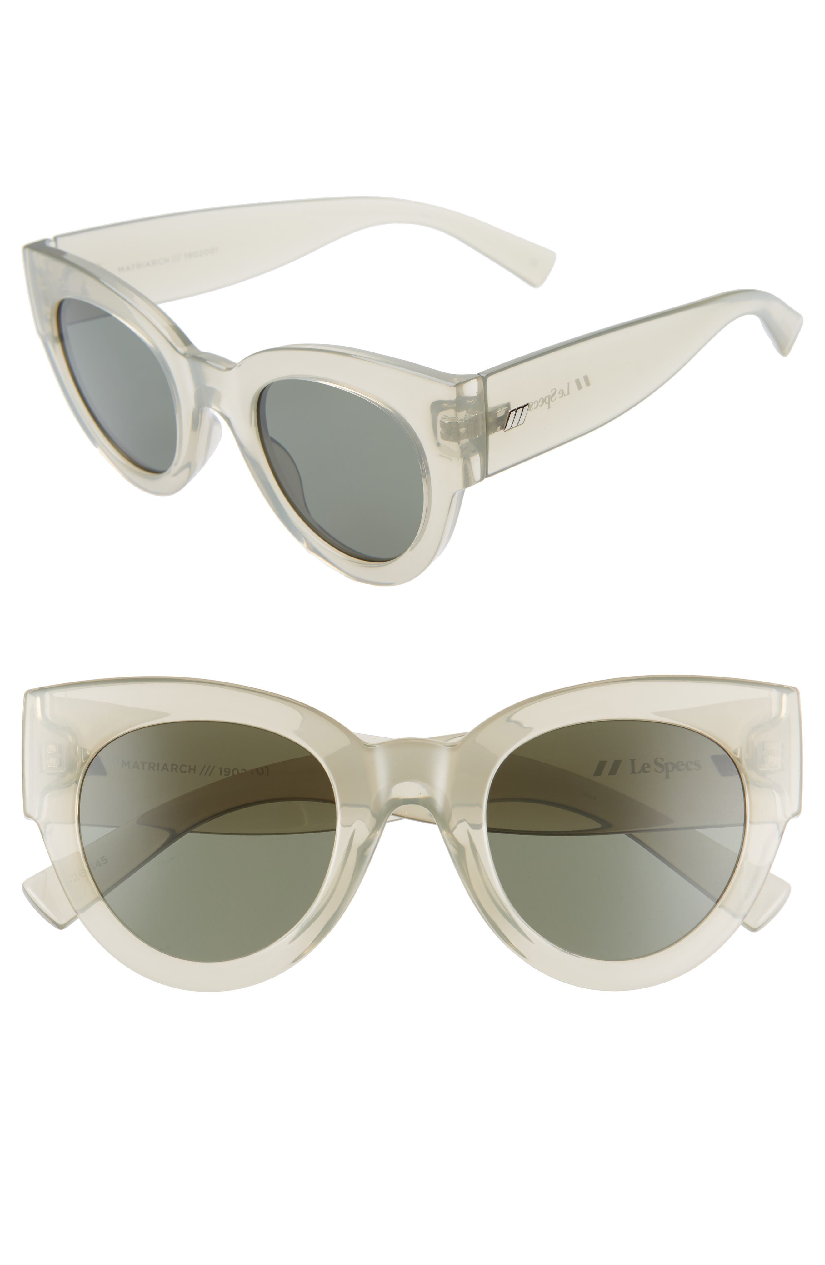Le Specs Matriarch 4m Cat Eye Sunglasses - Transparent Matcha/ Khaki