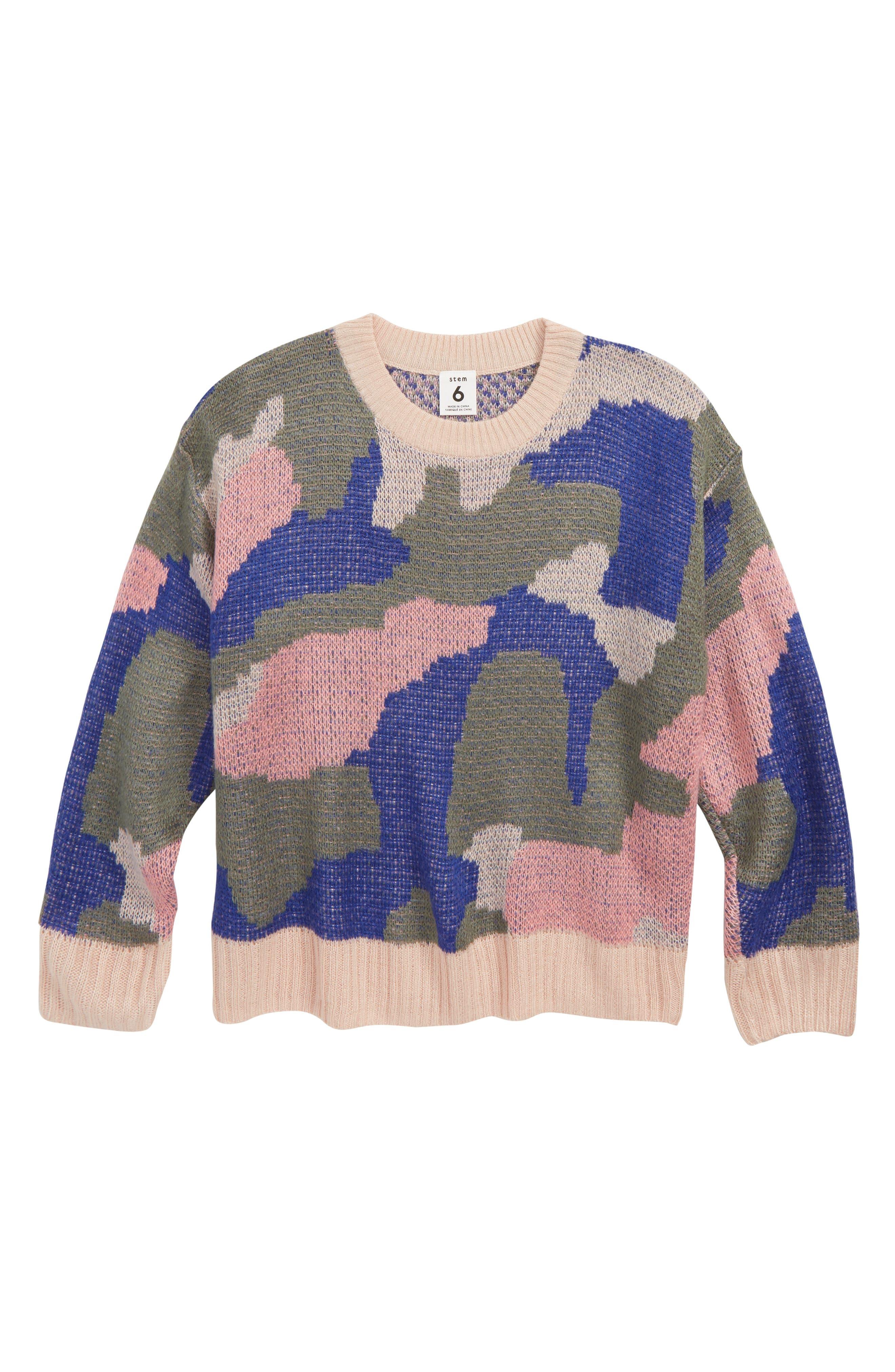 Abstract Sweater,                             Main thumbnail 1, color,                             PINK SMOKE CAMO