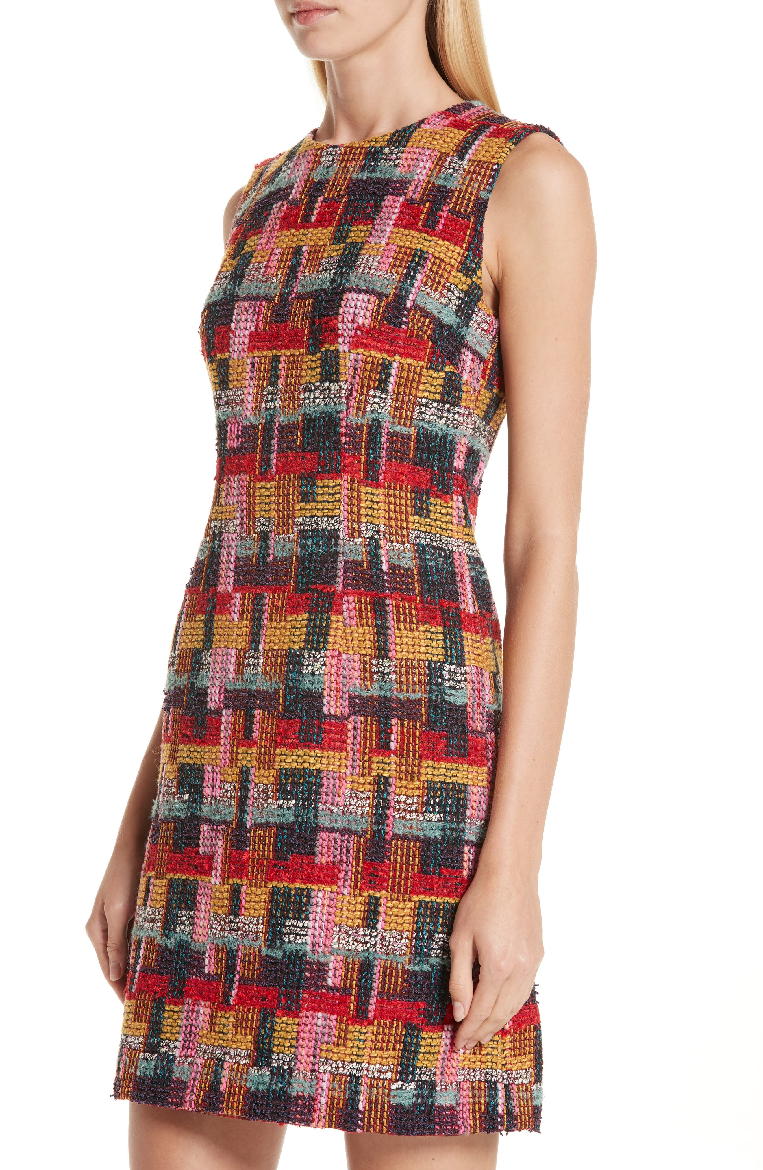 Multicolor Tweed Sheath Dress,                             Alternate thumbnail 4, color,                             RED