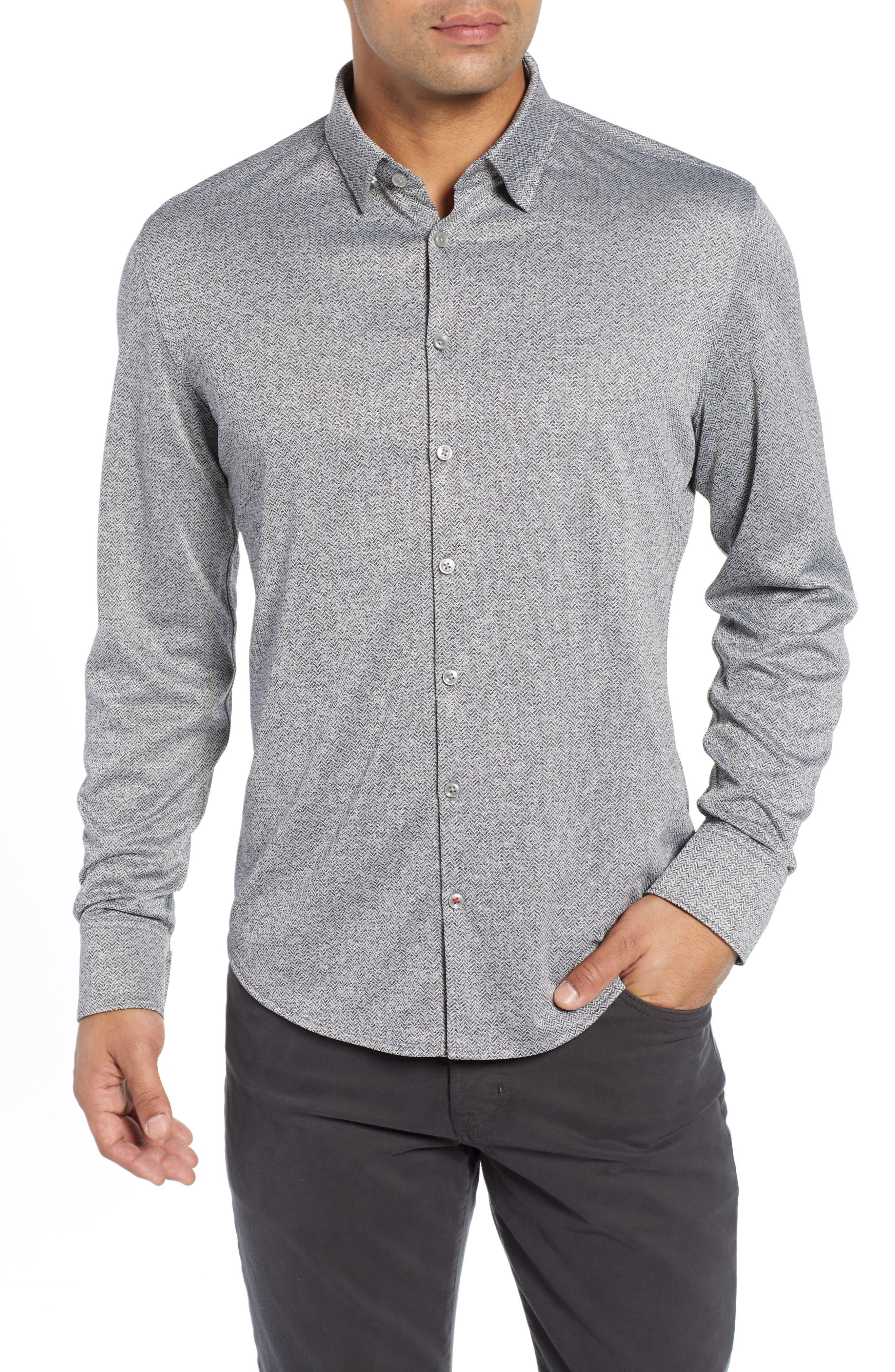 Trim Fit Knit Sport Shirt,                         Main,                         color, BLACK