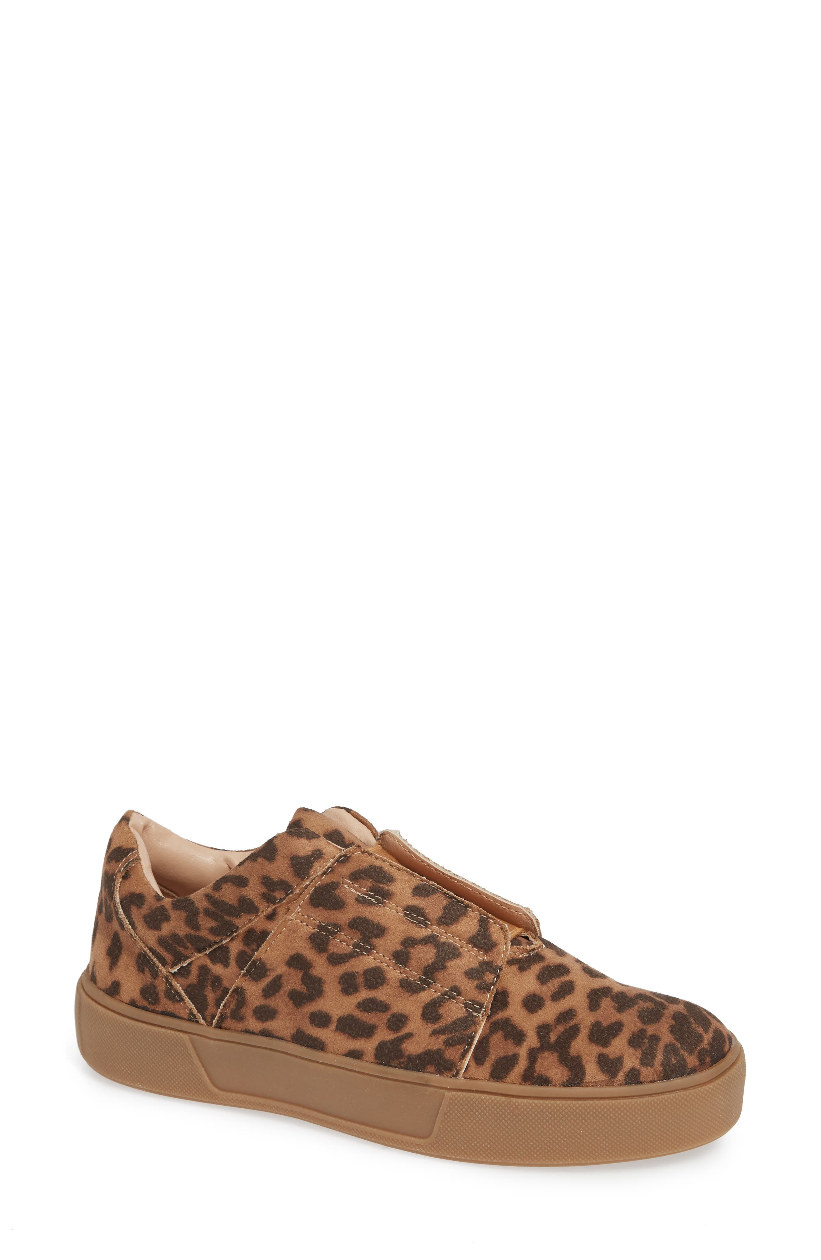 Tamera Slip-On Sneaker,                             Main thumbnail 1, color,                             TAN/ LEOPARD MULTI - FABRIC