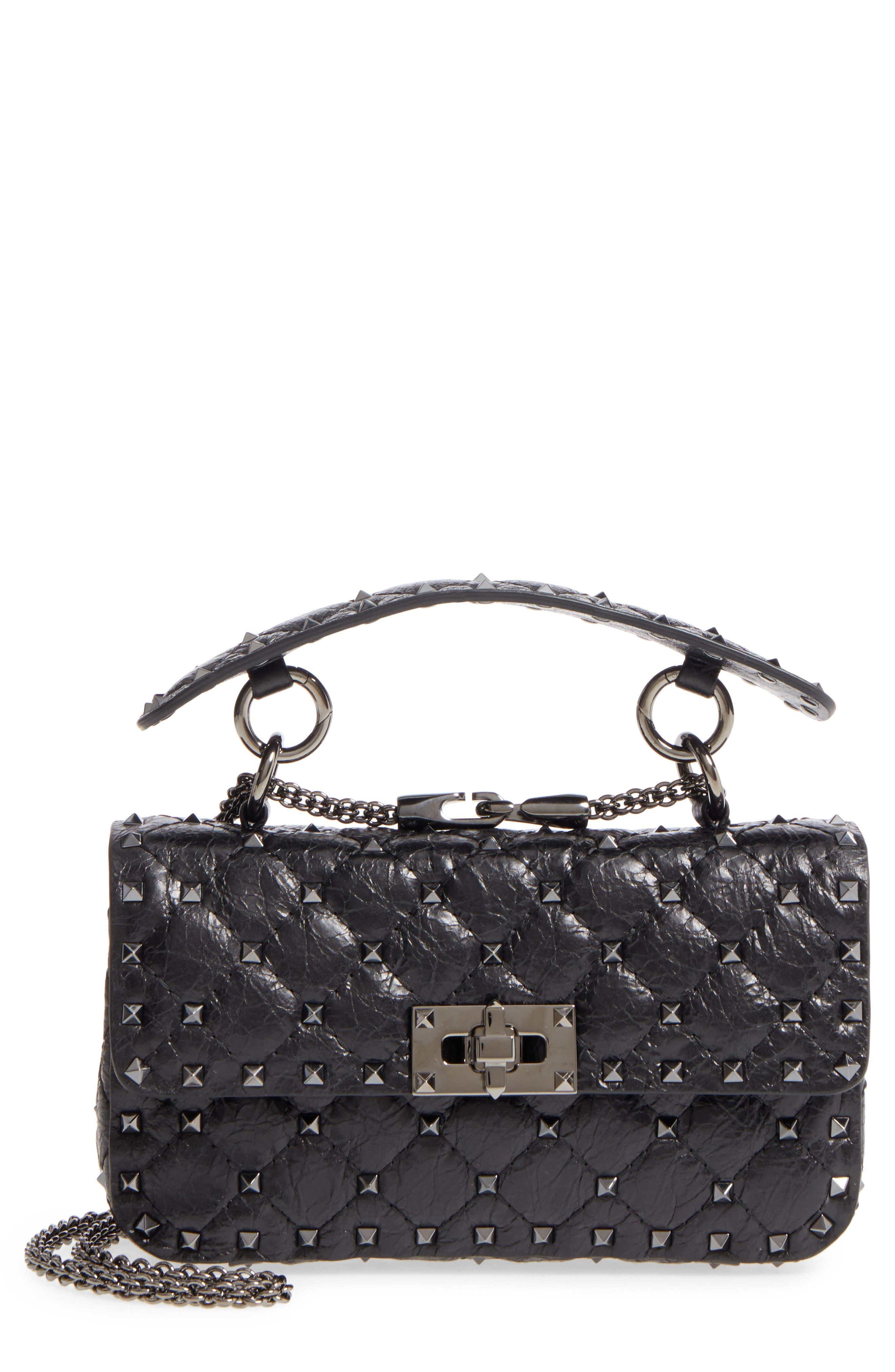 Vitello Rockstud Leather Shoulder Bag,                         Main,                         color, 001
