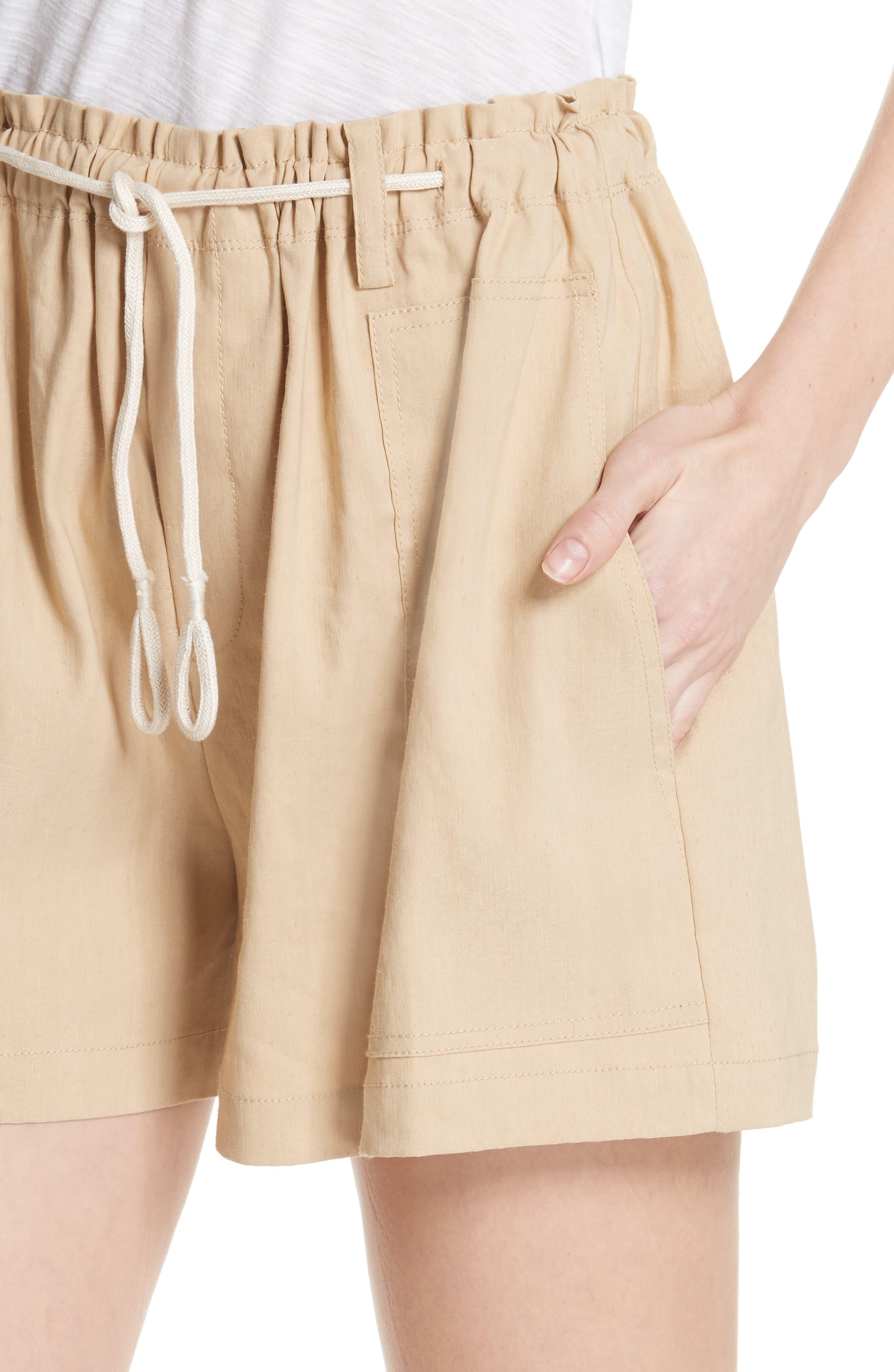 Rope Tie Linen Blend Shorts,                             Alternate thumbnail 11, color,