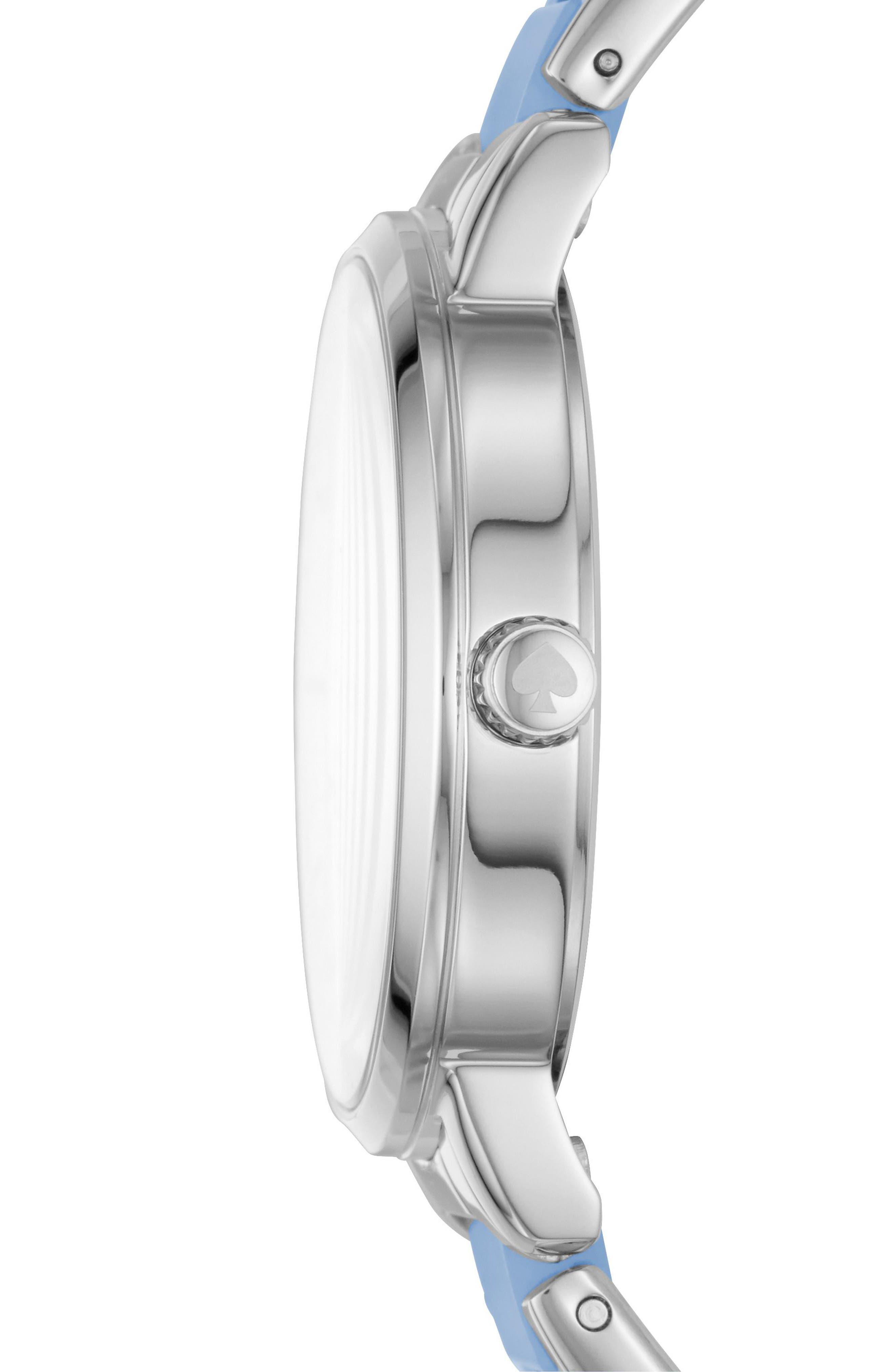metro bracelet strap watch, 34mm,                             Alternate thumbnail 2, color,                             BLUE/ MOP/ SILVER