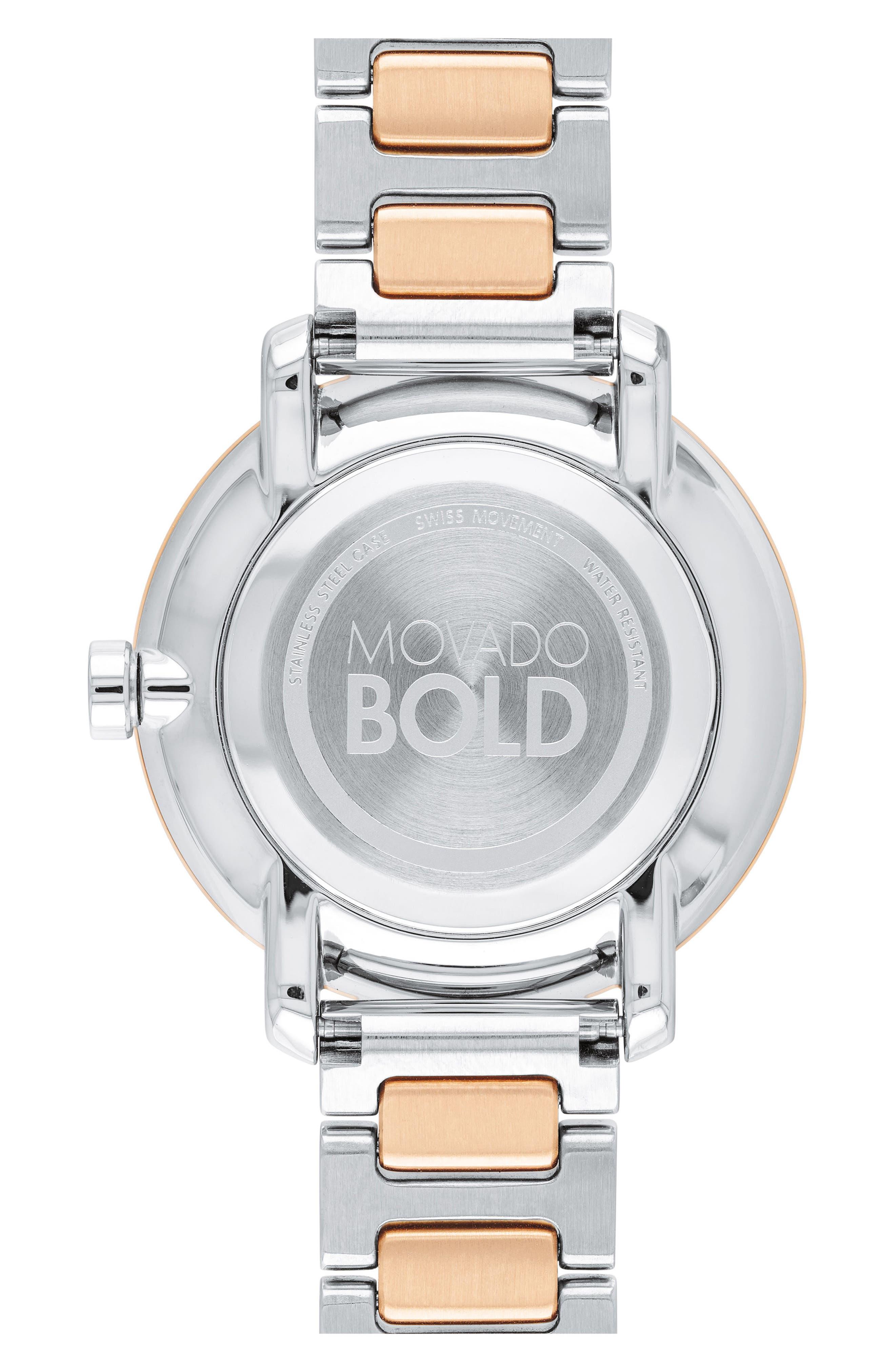 Bold Bracelet Watch, 34mm,                             Alternate thumbnail 2, color,                             SILVER/ ROSE GOLD