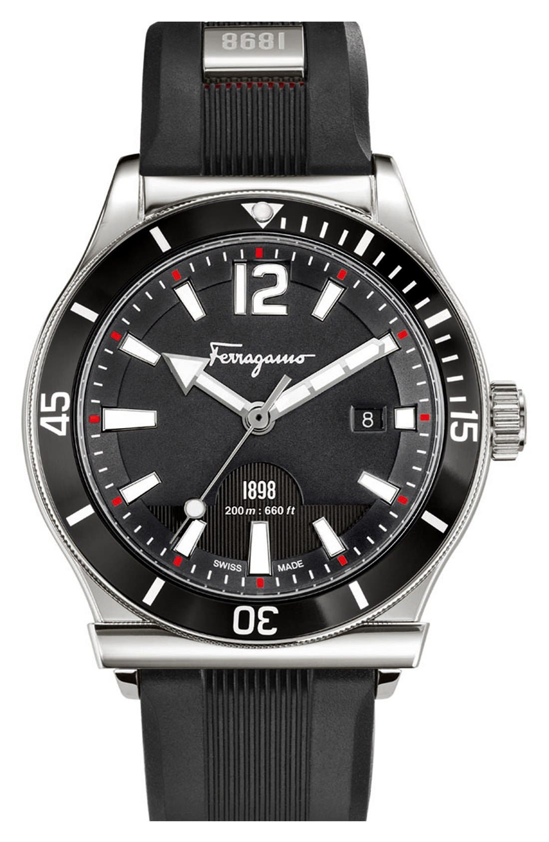 '1898 Sport' Rubber Strap Watch, 43mm,                         Main,                         color, 001