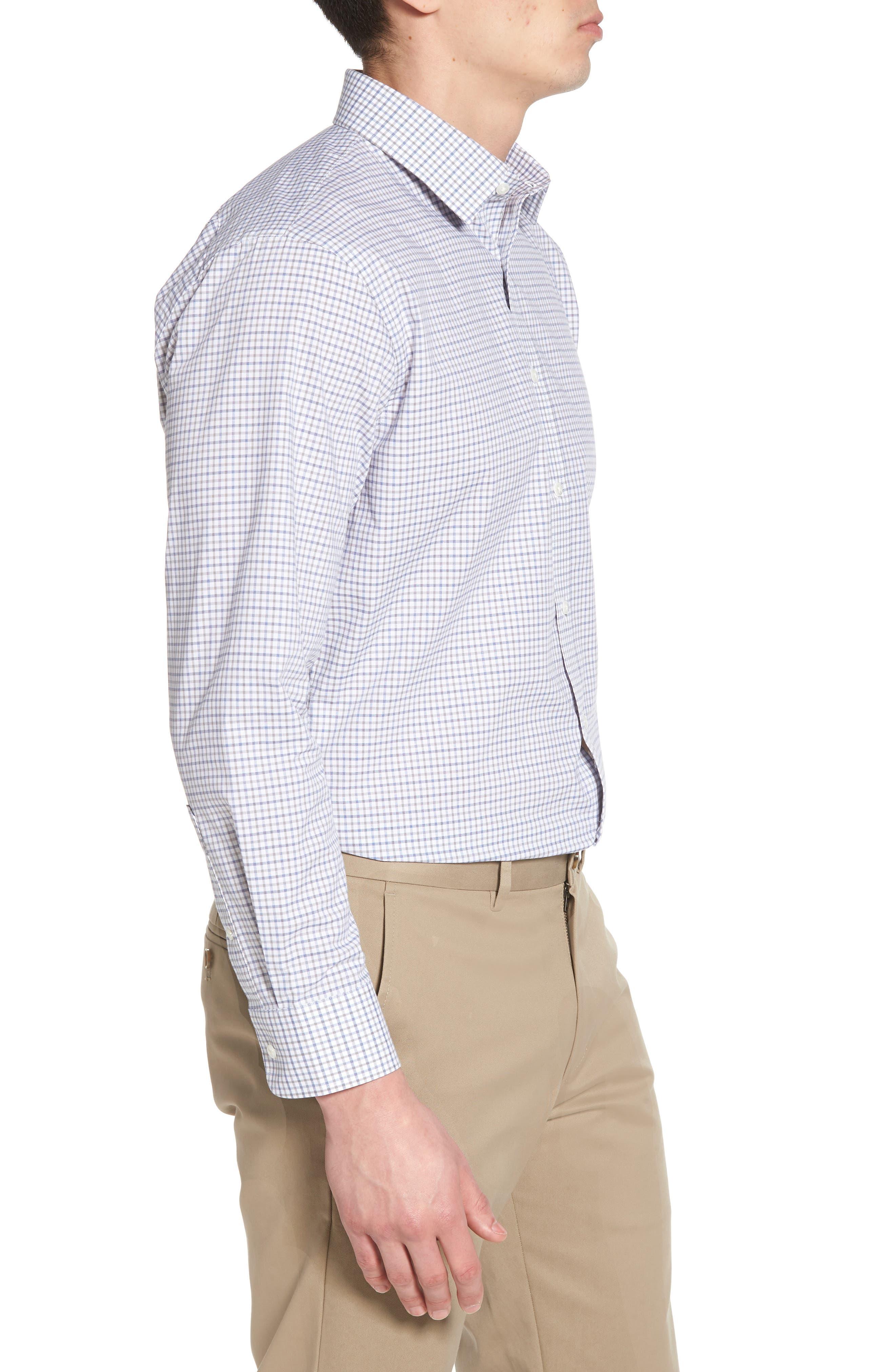 Trim Fit Check Dress Shirt,                             Alternate thumbnail 4, color,                             050